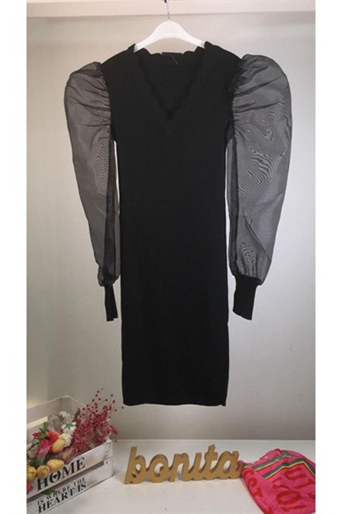 Organze Kol İthal İplik Triko Elbise K71 SİYAH