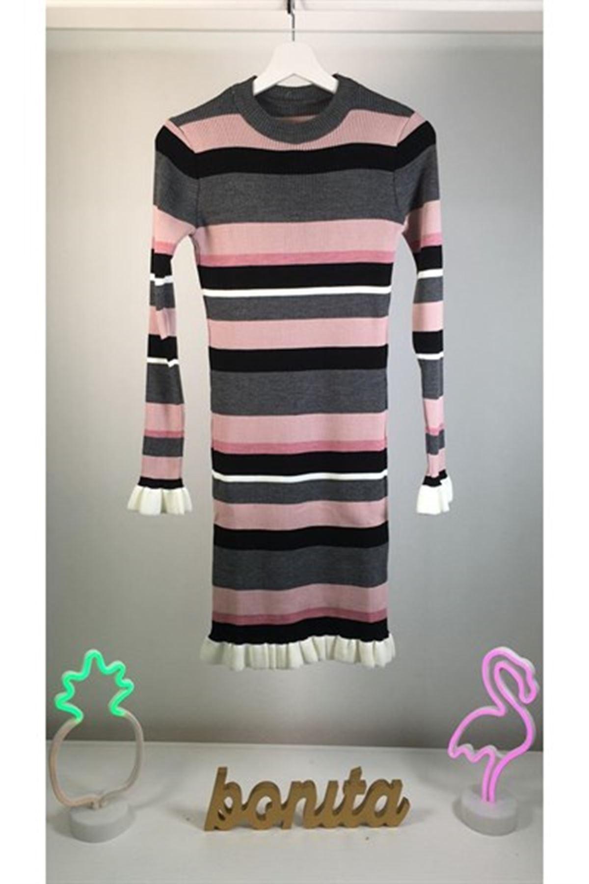 İpek Triko Renkli Elbise K74 MULTİ