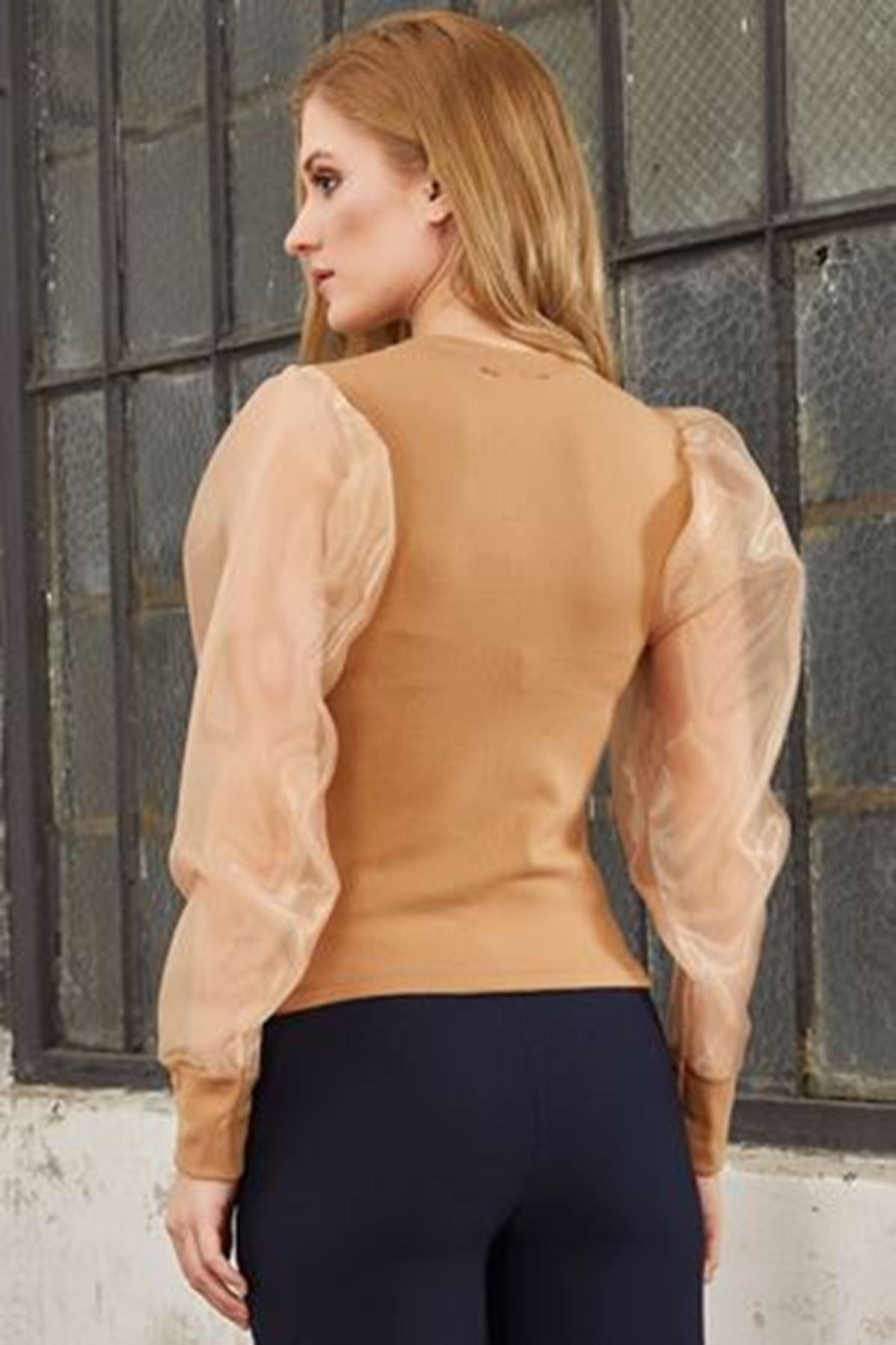 Bilek bantlı kolları tüllü akrelik bluz  ES118 VİZON