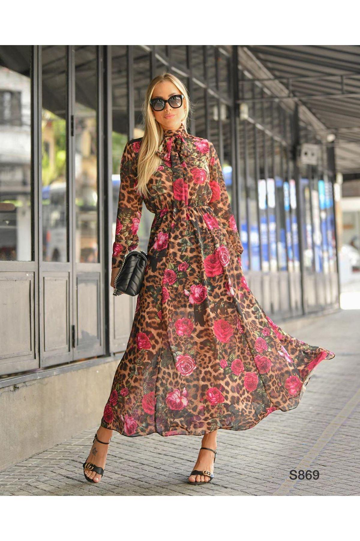 Fular Detaylı Dijital Baskı Şifon Elbise S869  KAHVERENGİ