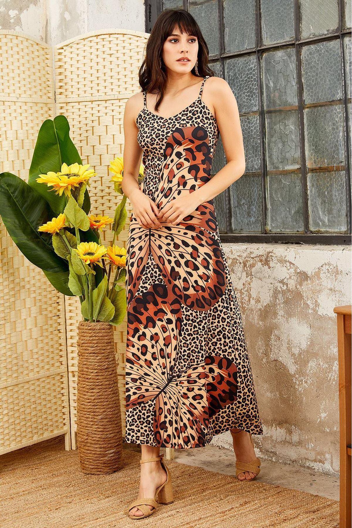 Leopar kelebek desen elbise