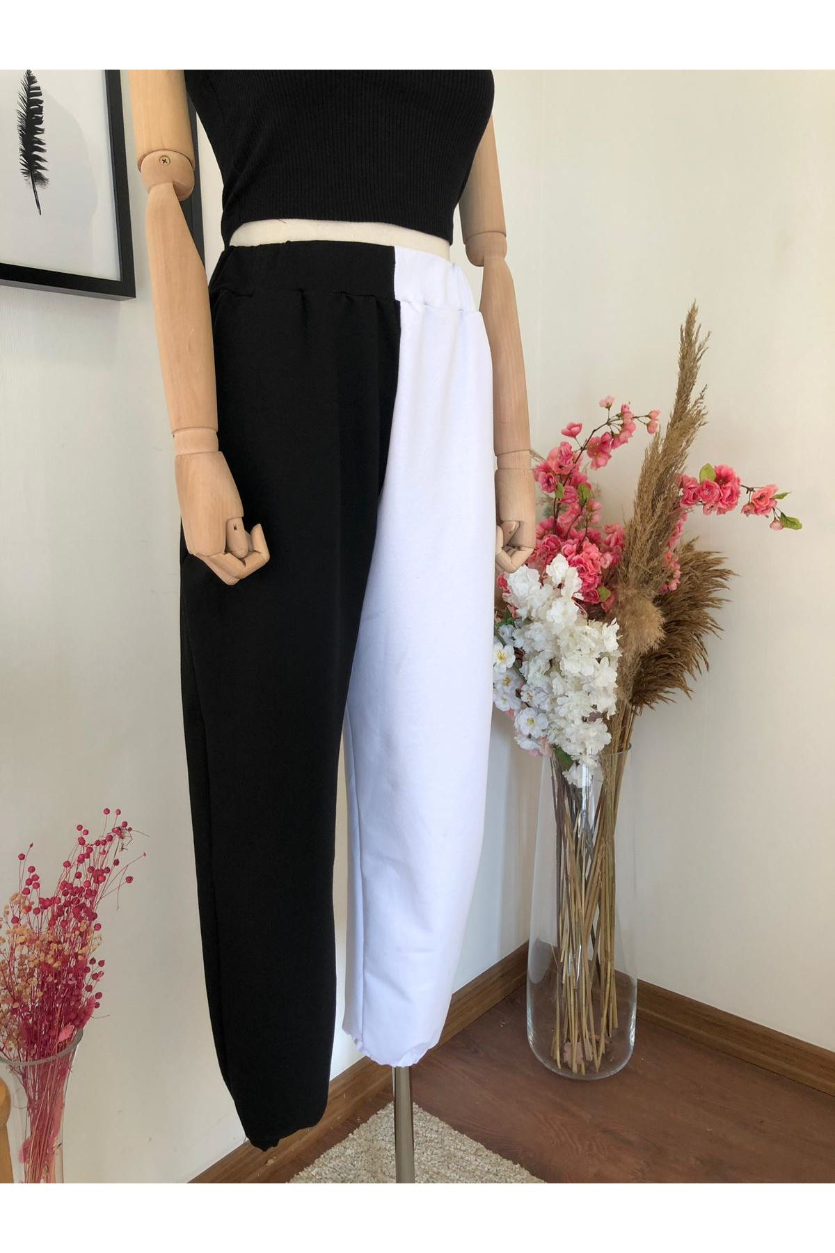 Siyah Beyaz Yüksek Bel Pantolon   SİYAH