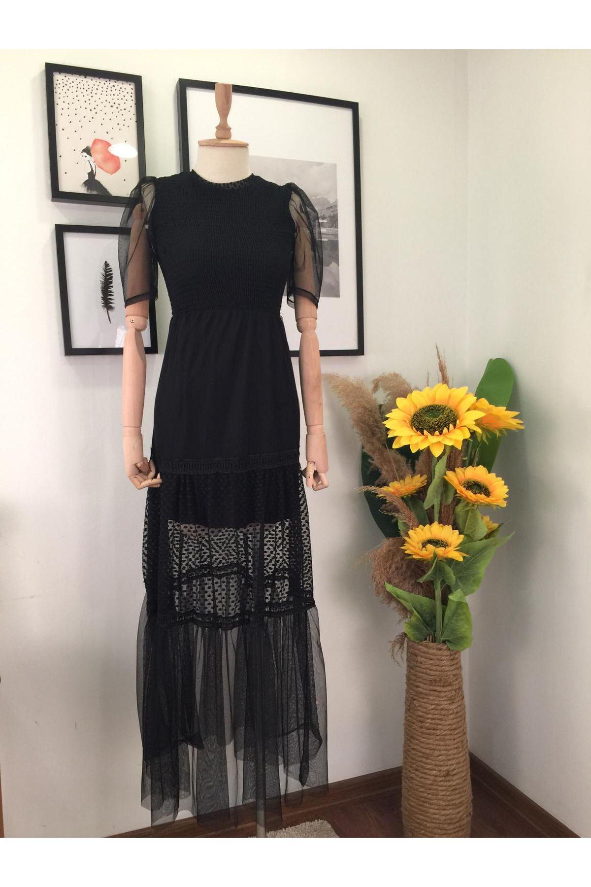 Göğüs Gipeli Etek Ve Kol Tül Detaylı Elbise VS213 SİYAH