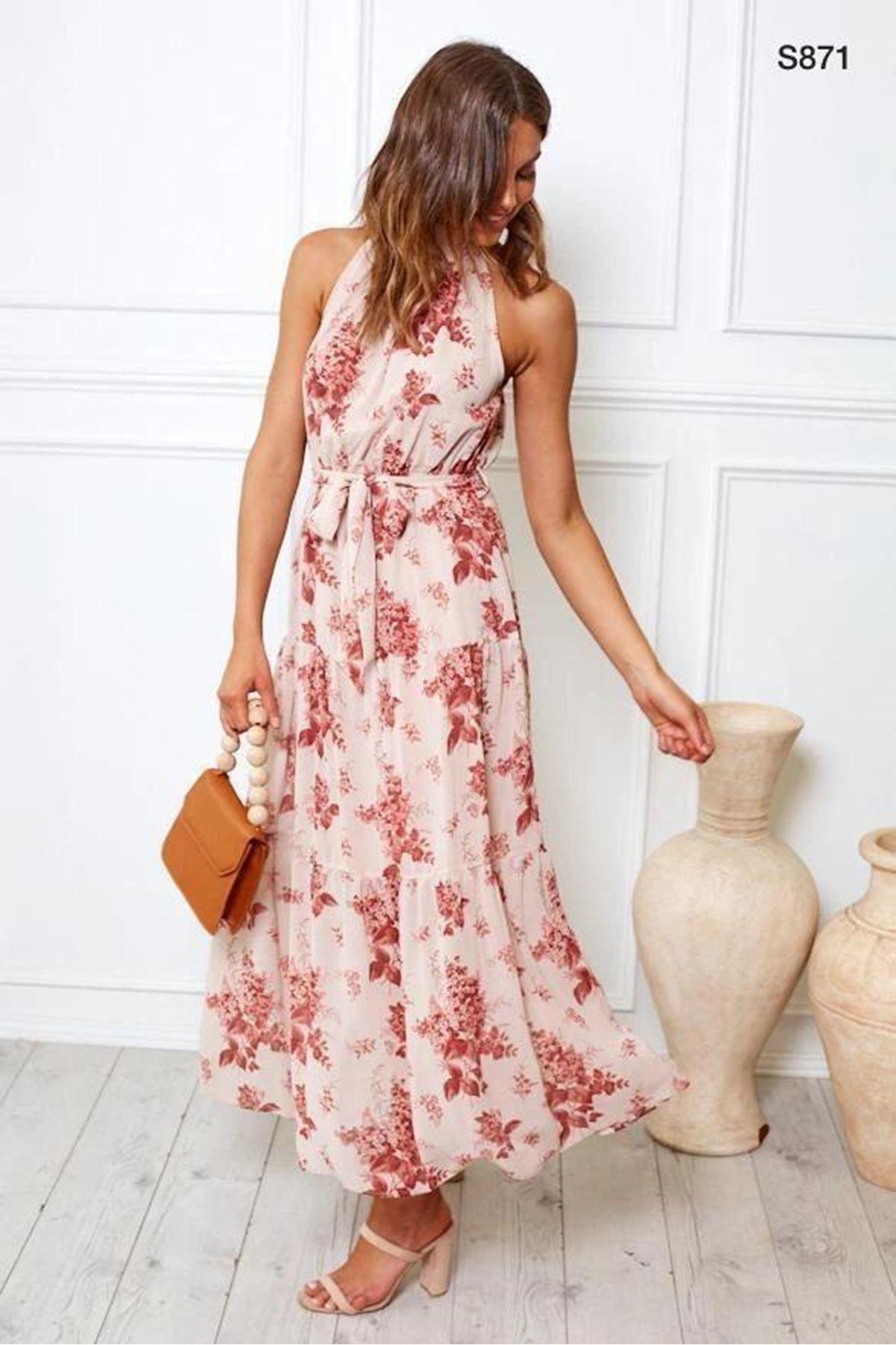 Çiçek Desenli Şifon Elbise S871 EKRU