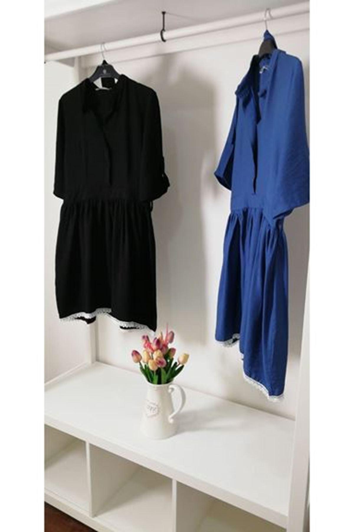 Eteği dantel ayrobin elbise SİYAH