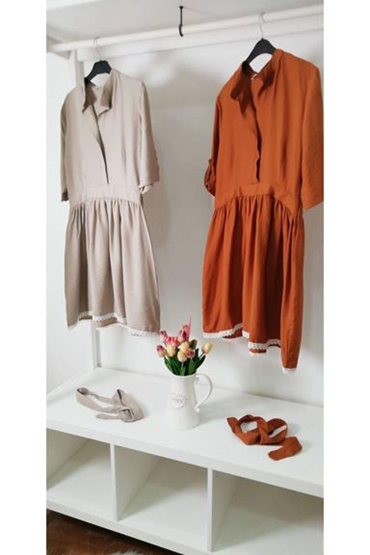 Eteği dantel ayrobin elbise KAHVERENGİ