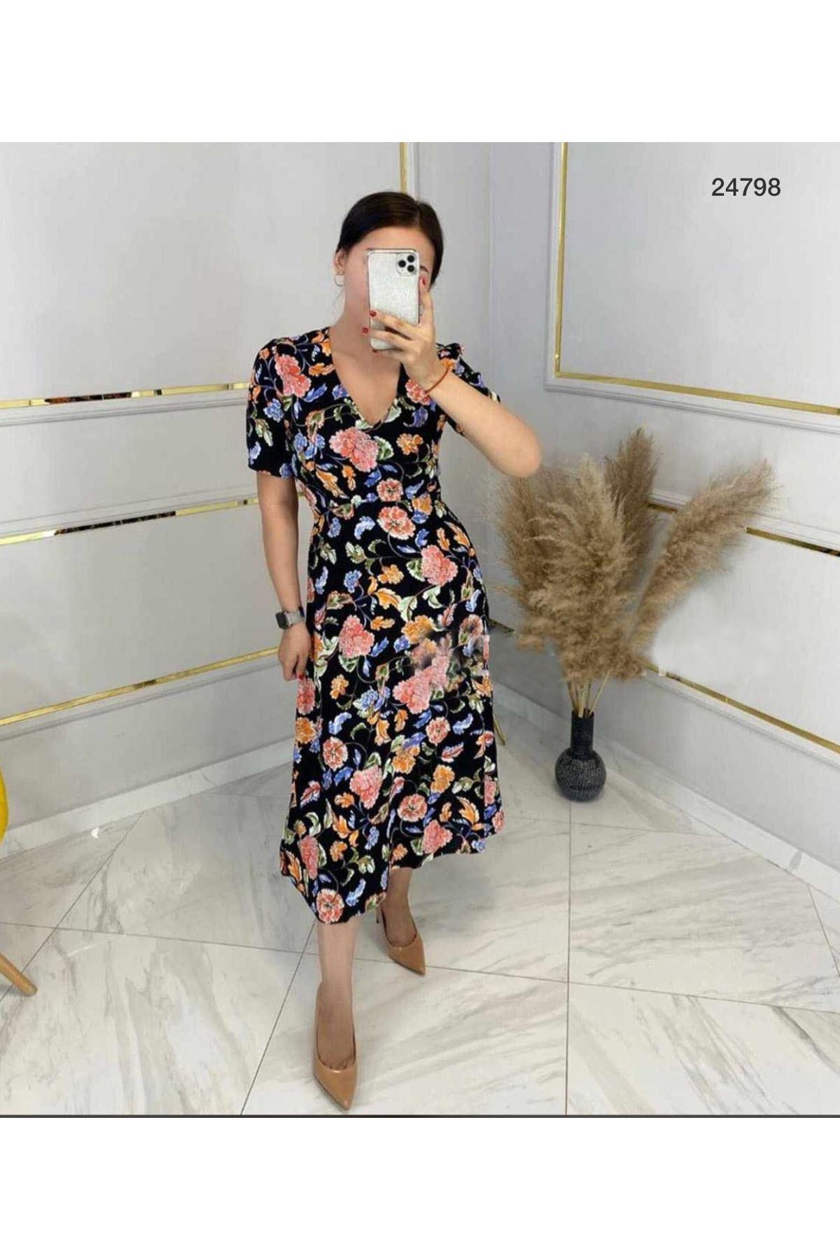 Çiçekli Midiboy Elbise MULTİ