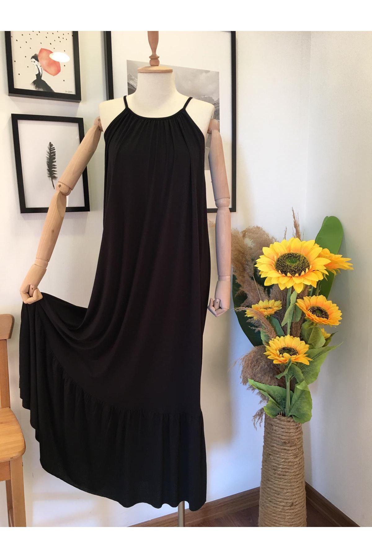 Askılı Salaş Elbise SİYAH