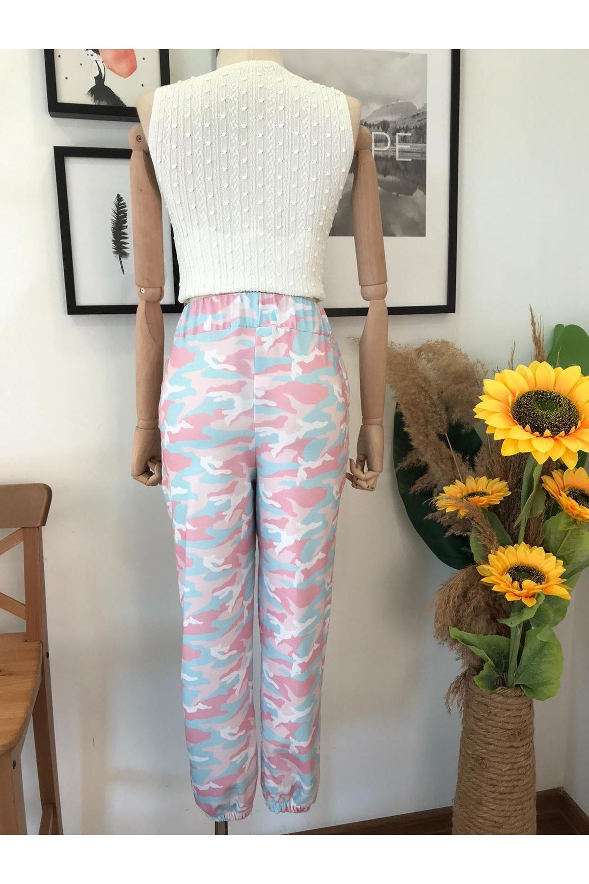Renkli Kamuflaj Desen Pantolon  VS275  PEMBE