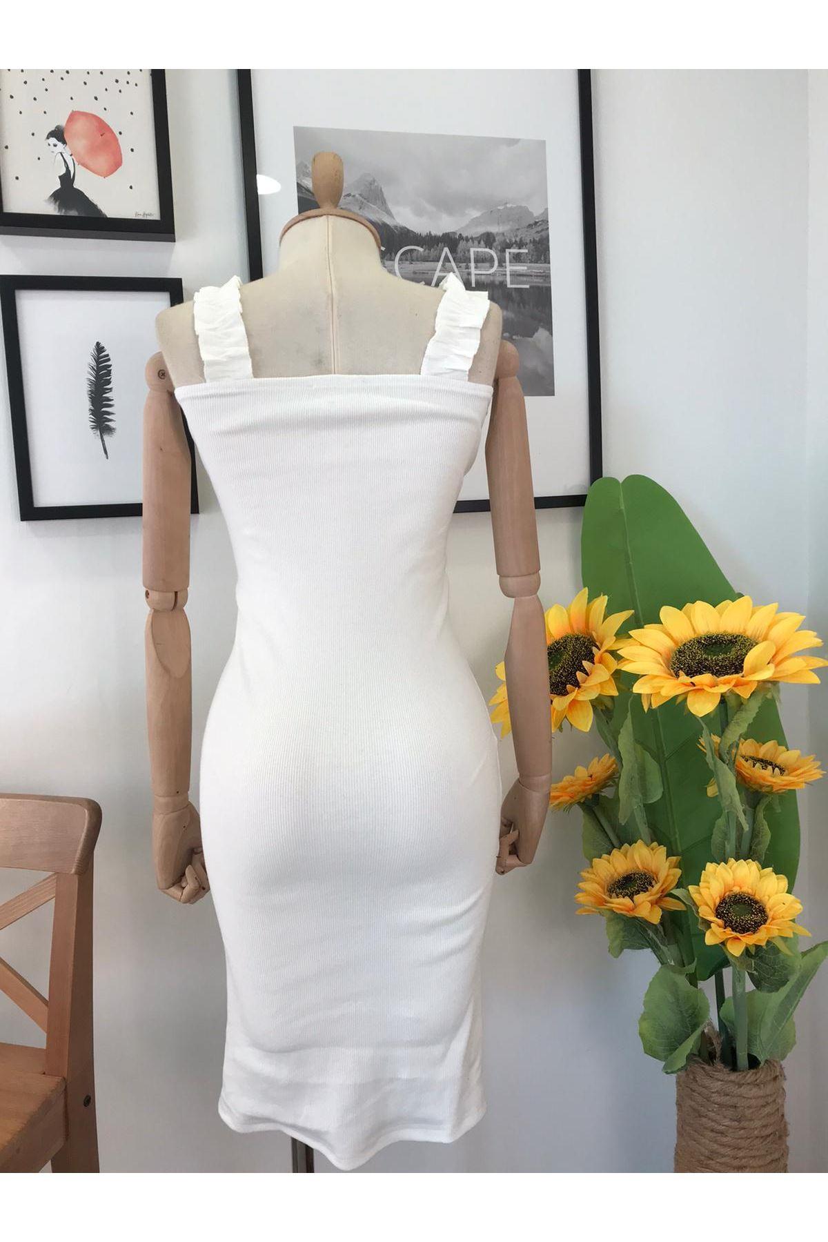 Askı Tasarım Kalem Elbise BEYAZ