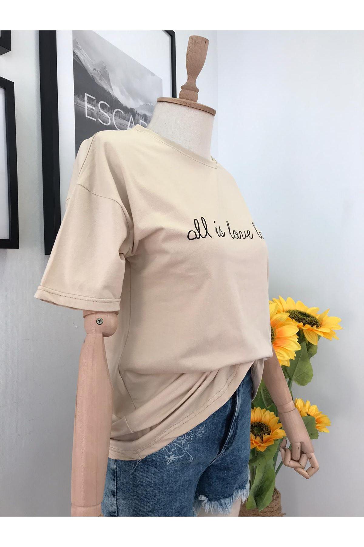 Baskılı Uzun Tshirt BEJ