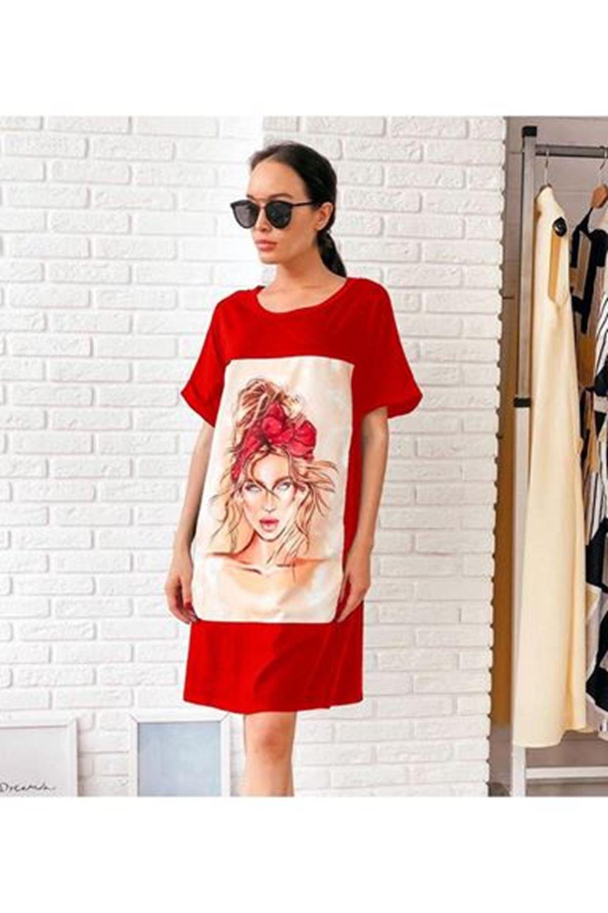 Taç Model Baskılı Tunik Elbise BORDO