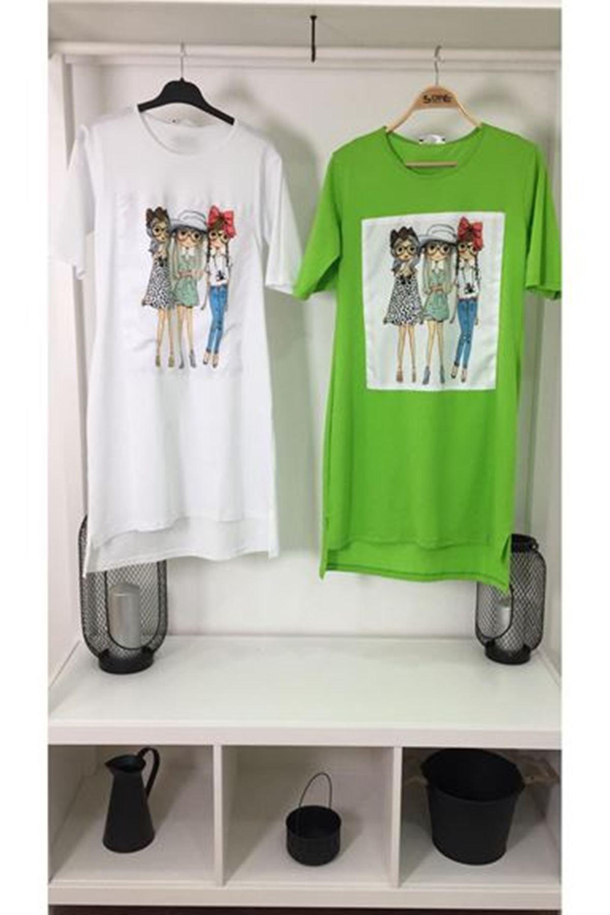 Üç Kız Baskılı Tunik Elbise YEŞİL