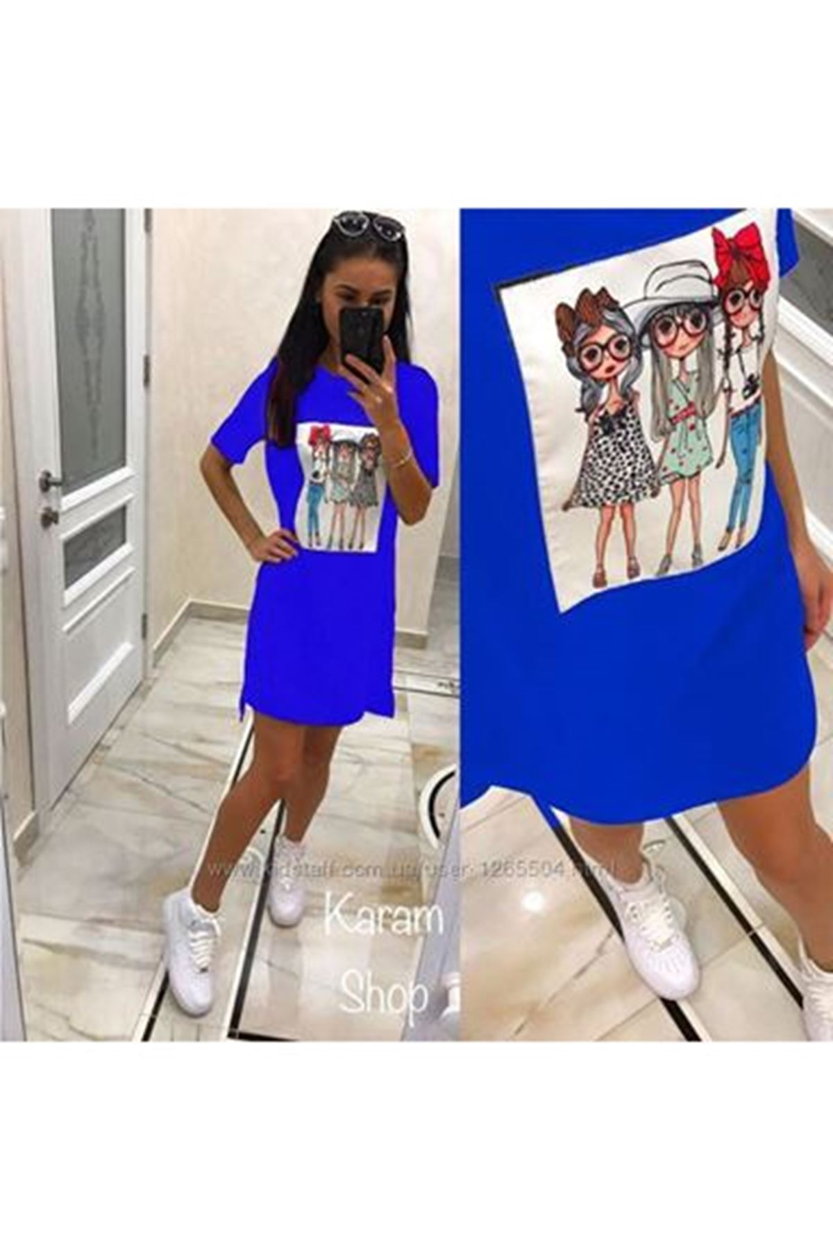 Üç Kız Baskılı Tunik Elbise SAKS