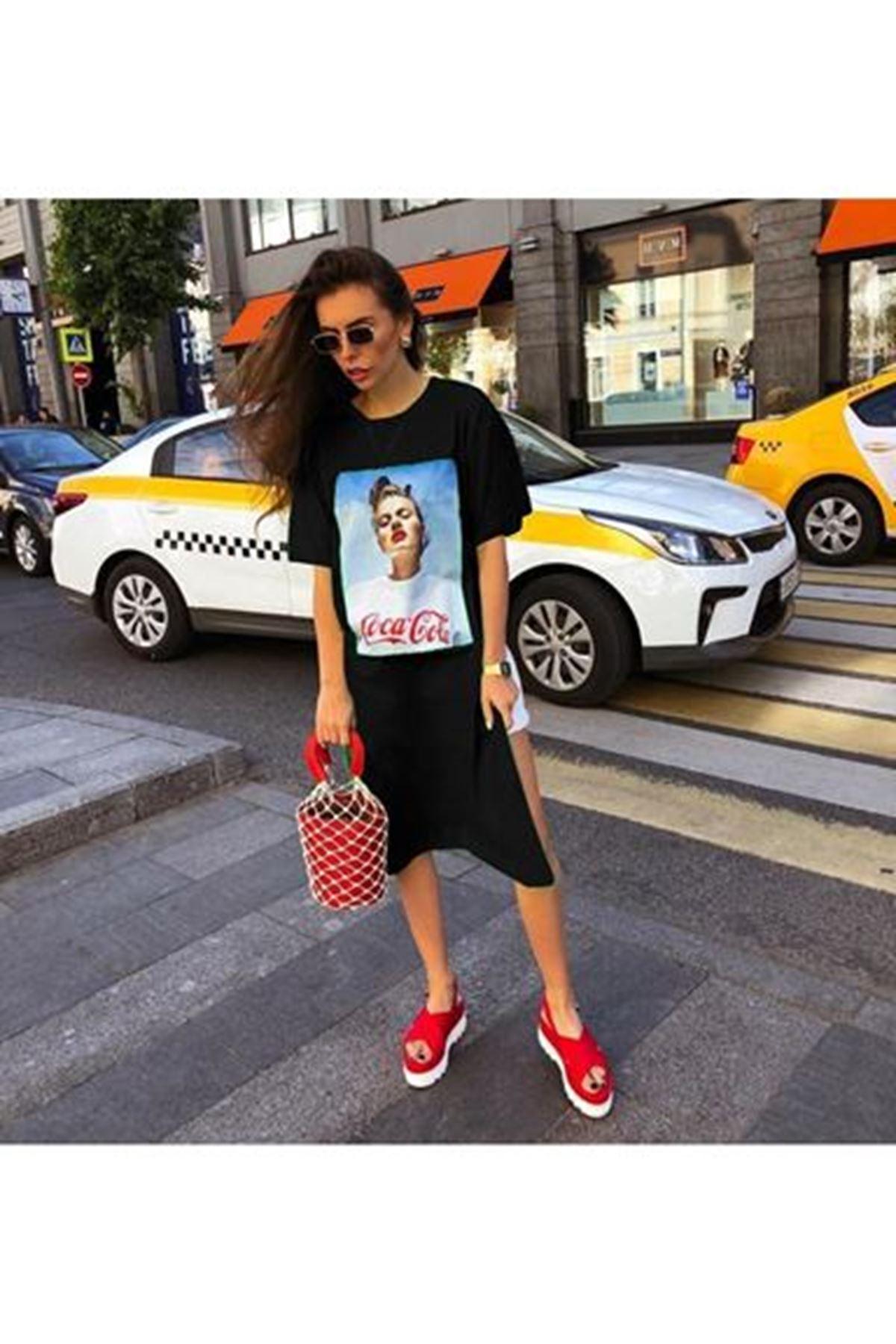 Coca Cola Baskılı Tunik Elbise SİYAH
