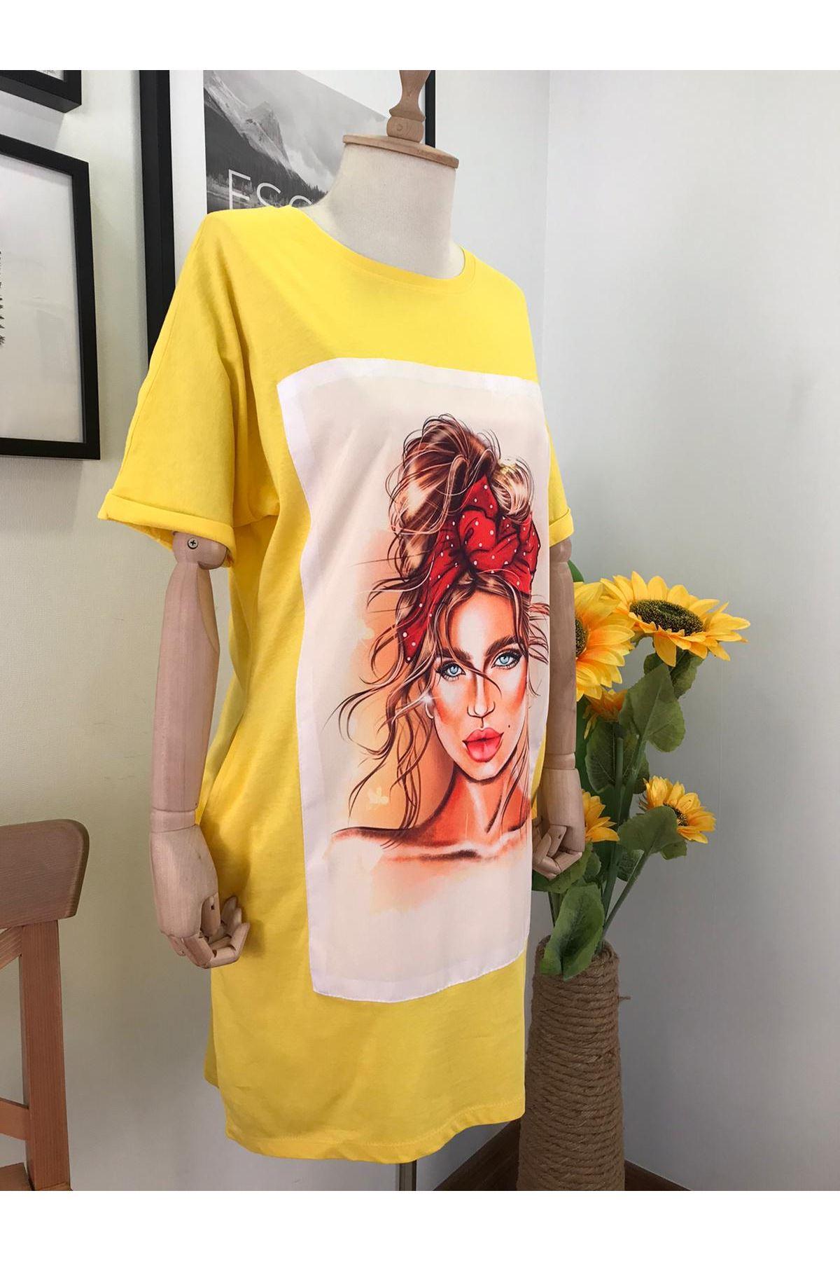 Taç Model Baskılı Tunik Elbise SARI