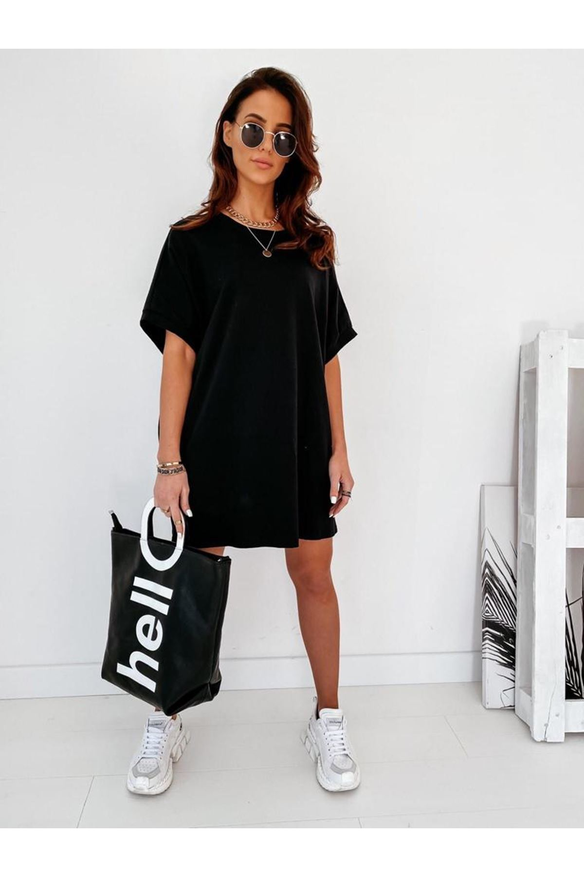 Kanat Baskılı Spor Elbise VS316  SİYAH