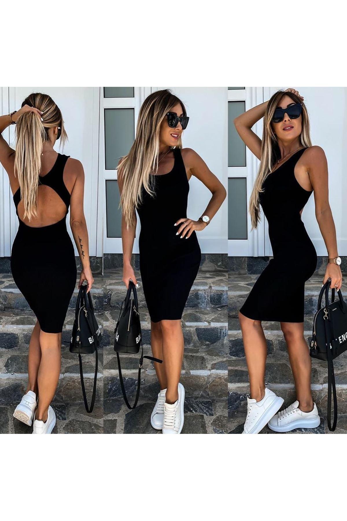 Merserize Triko Elbise - Siyah