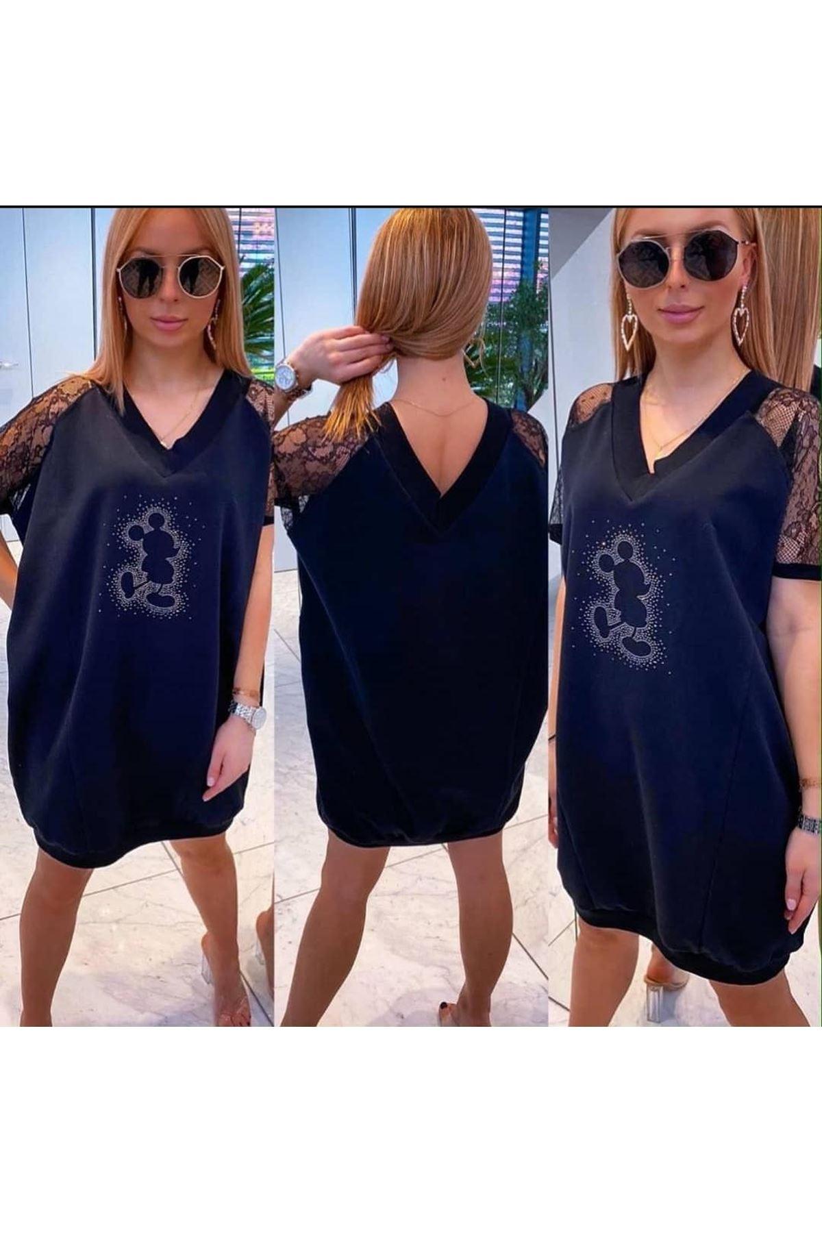 Taş Dantel Detay Tunik Elbise - Siyah