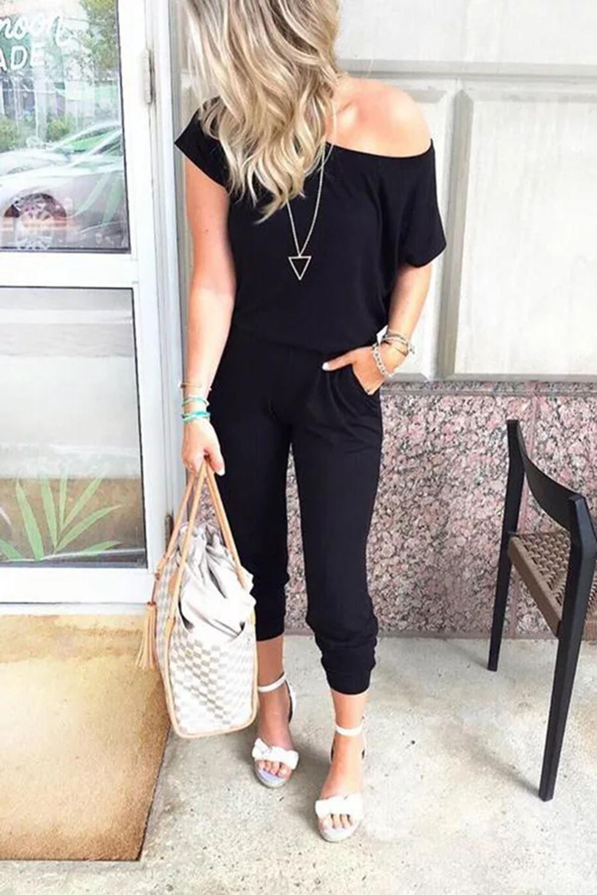 Zara Model Düşük Omuz İkili Takım - Siyah