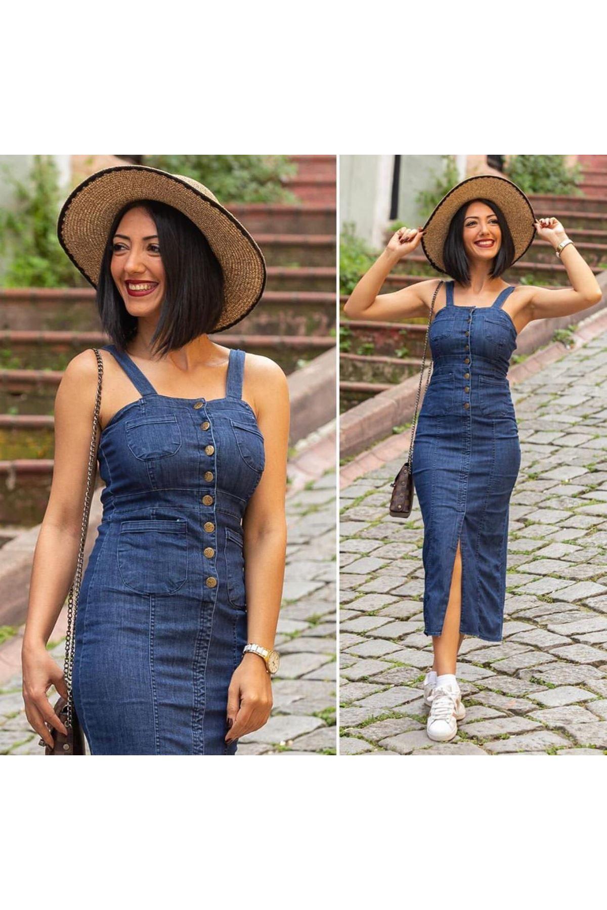 Kare Yaka Kot Elbise - Mavi