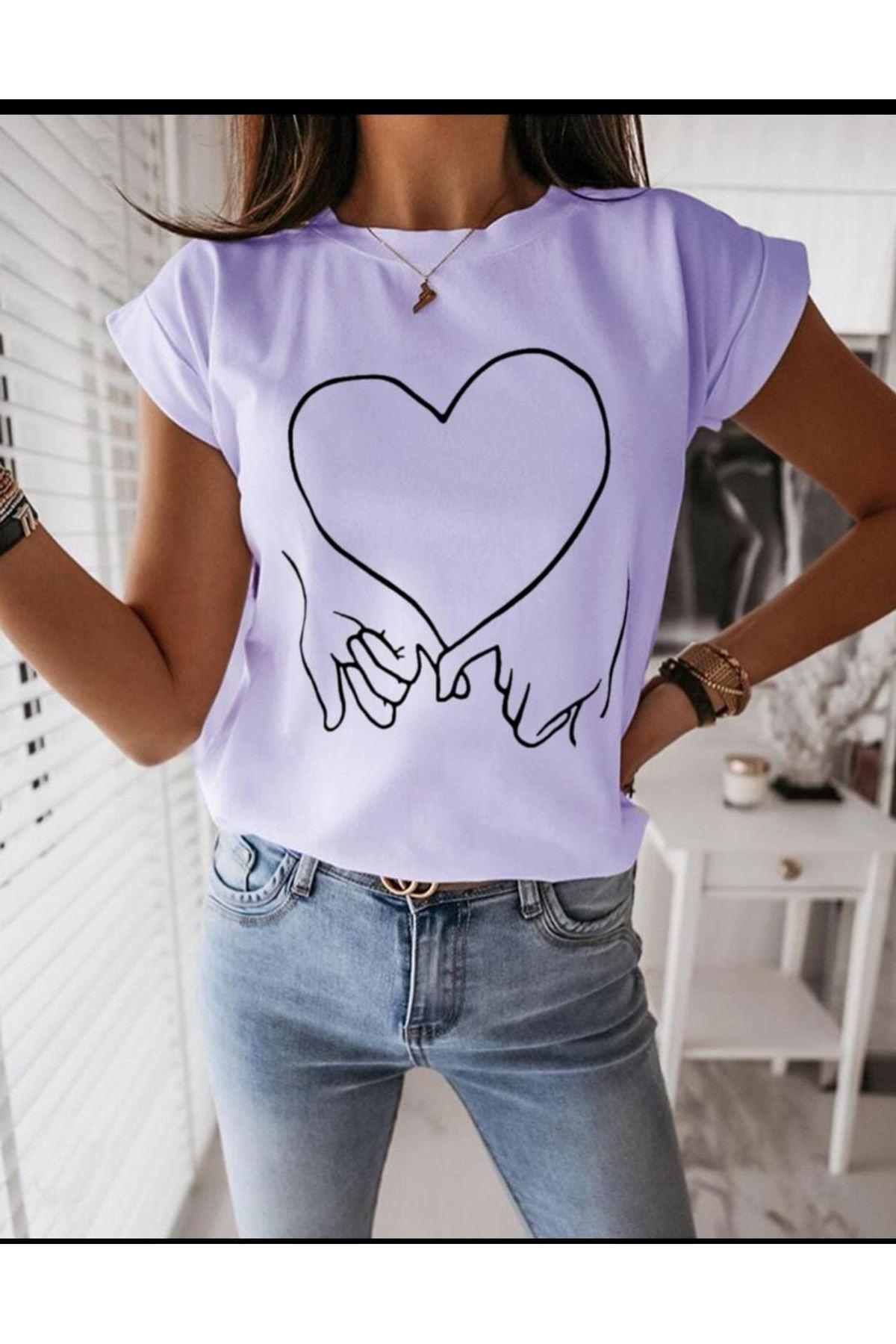Kalp Baskı Tshirt - Lila