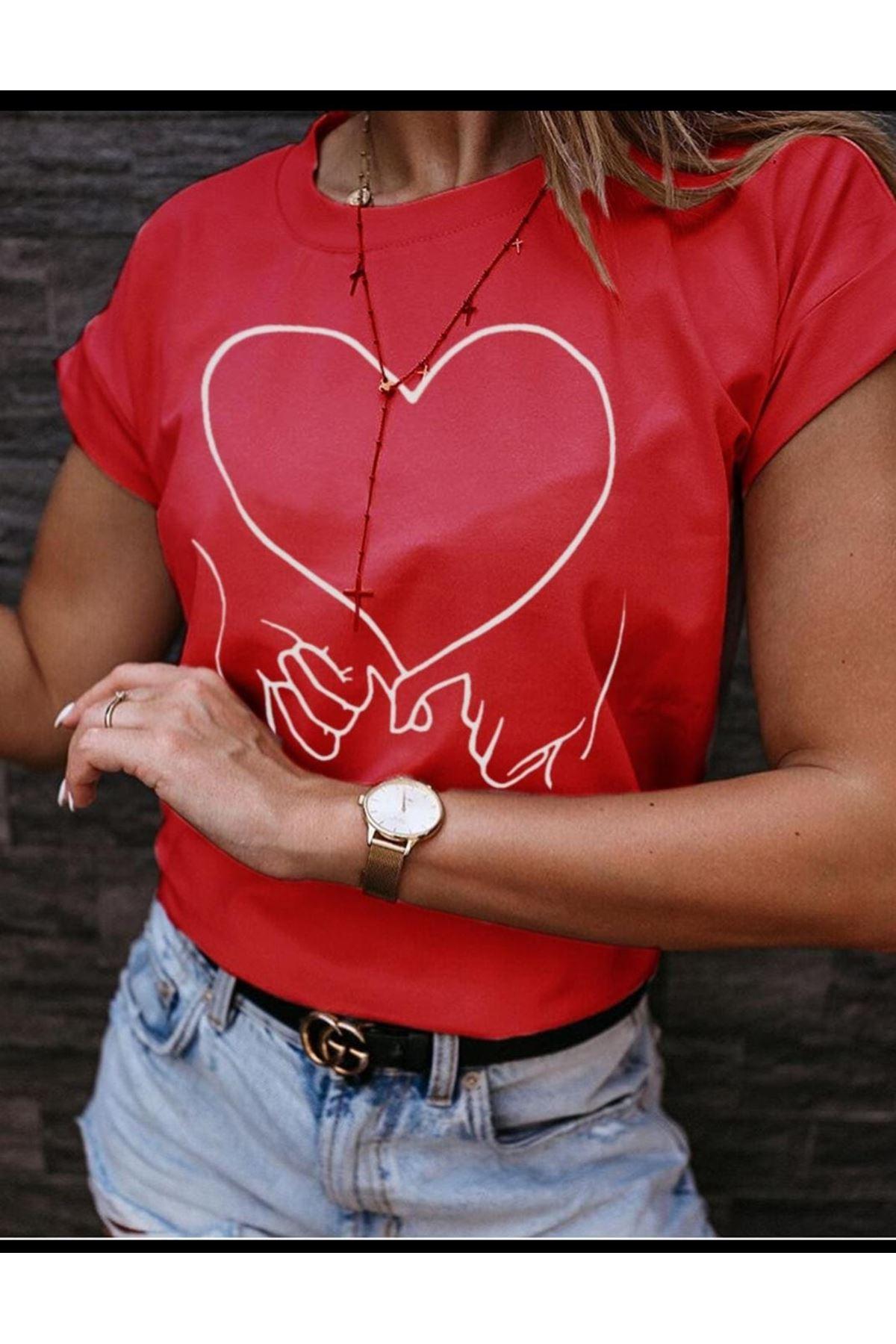 Kalp Baskı Tshirt - Kırmızı