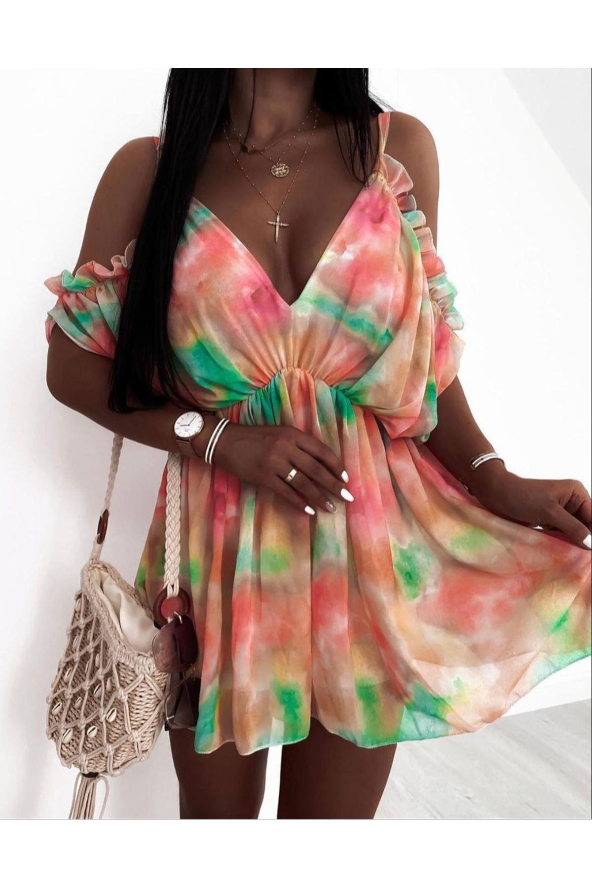 Batik Desen Şifon Kumaş Astarlı Elbise - Pembe