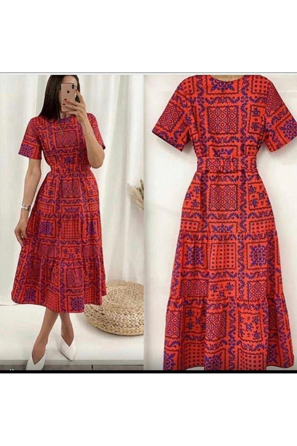Etnik Desen Kemerli Elbise - Kırmızı