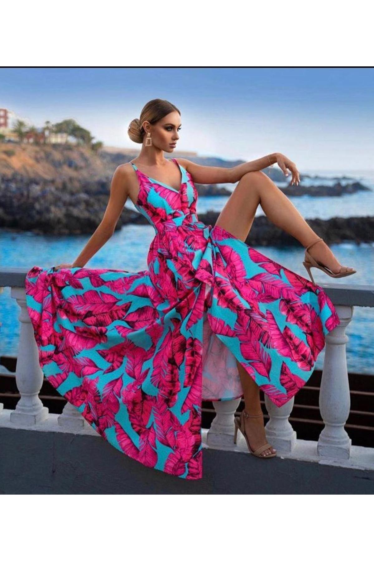 İthal Crep Kumaş Tasarım Elbise - Fuşya