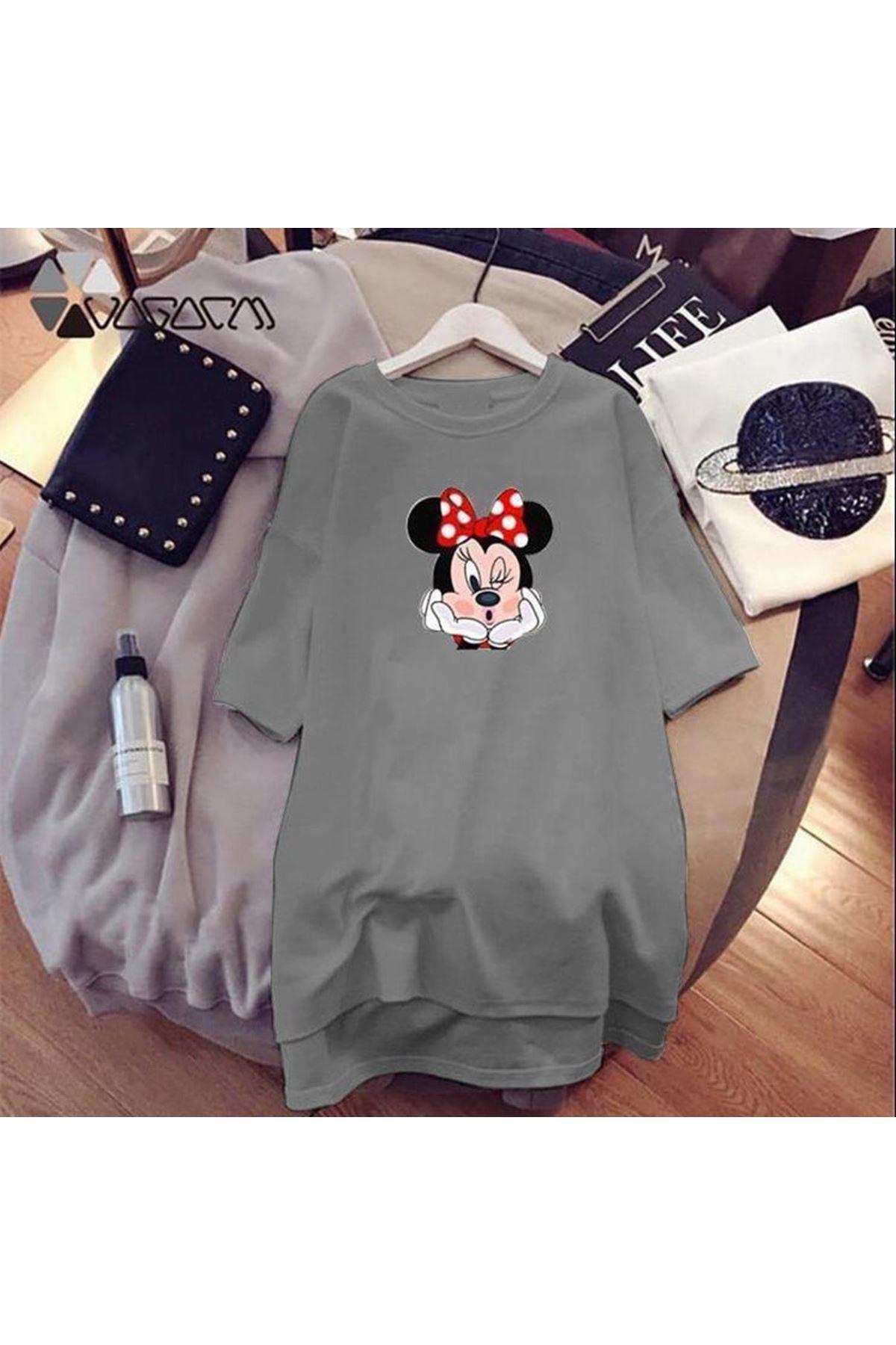 Mickey Baskılı Tunik Elbise - Gri
