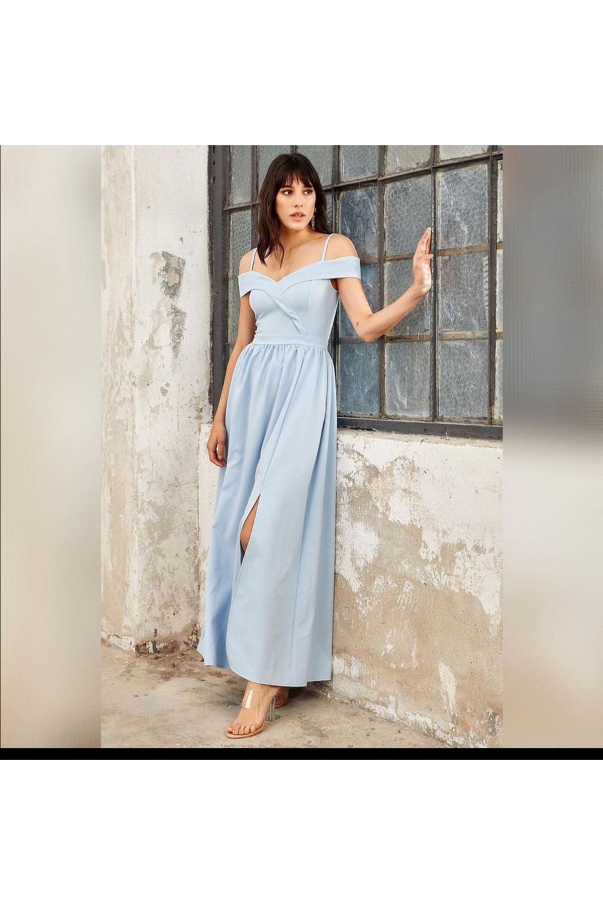 Düşük Omuz Yırtmaçlı Elbise - Mavi