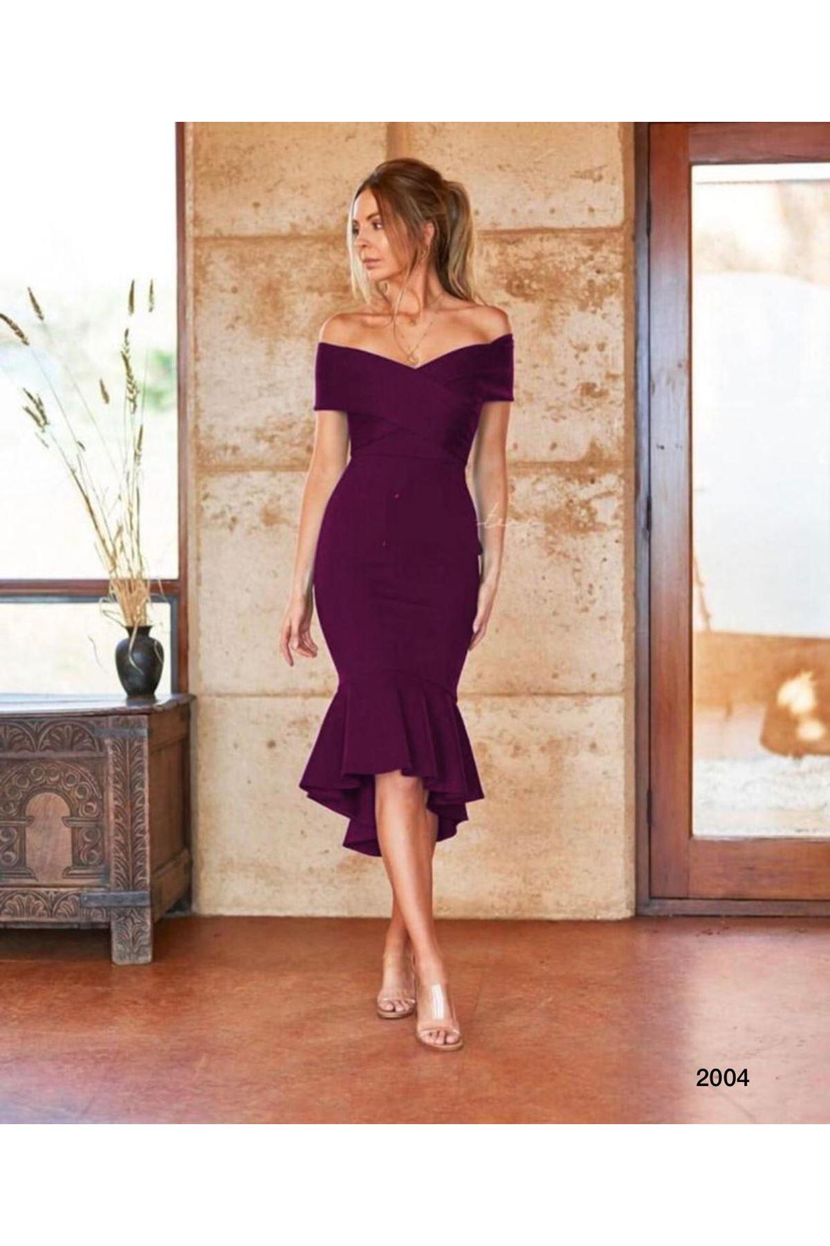Düşük Omuz Volanlı Elbise - Mürdüm