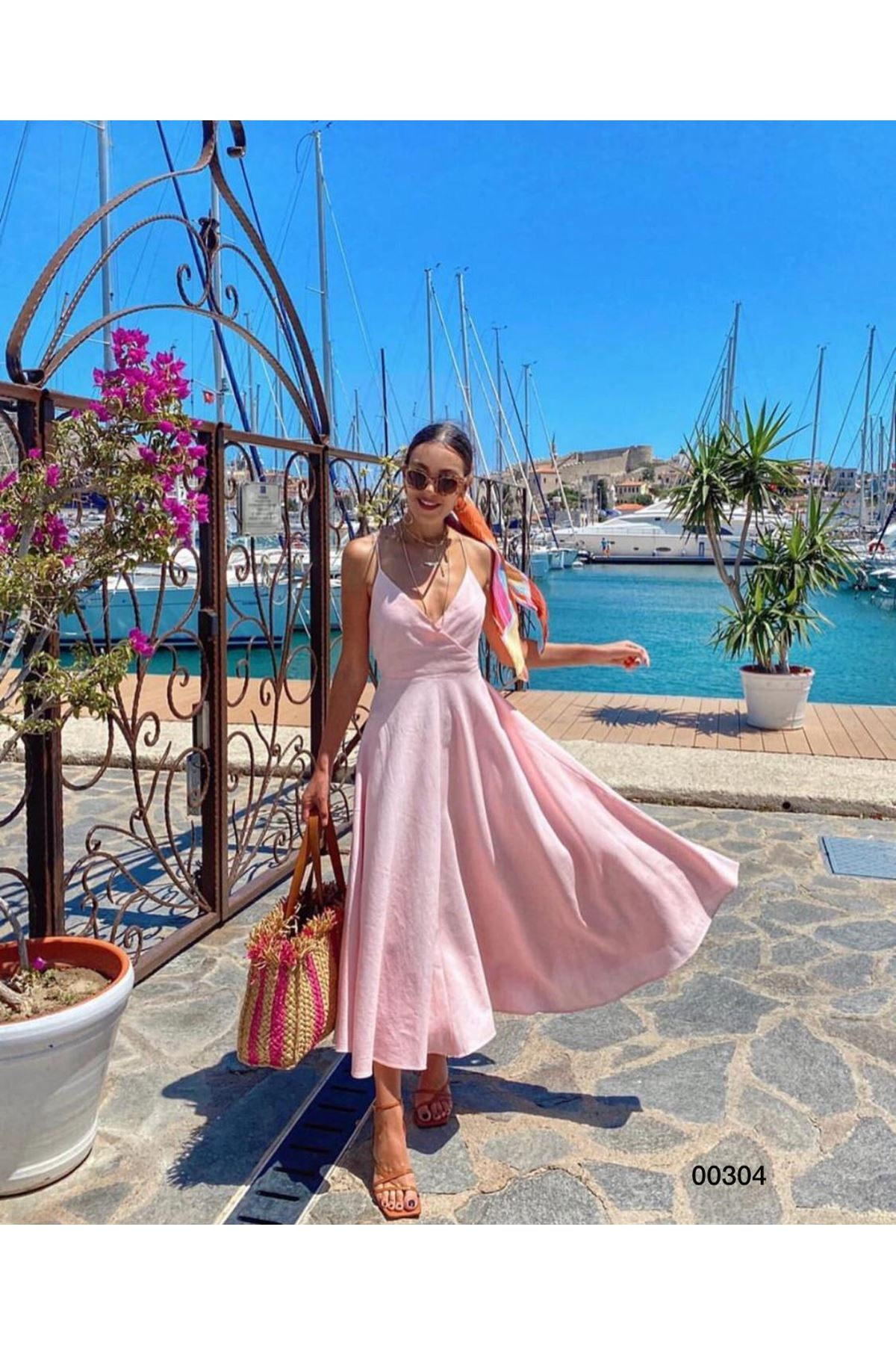 Sırtı Bağlamalı Elbise - Pembe