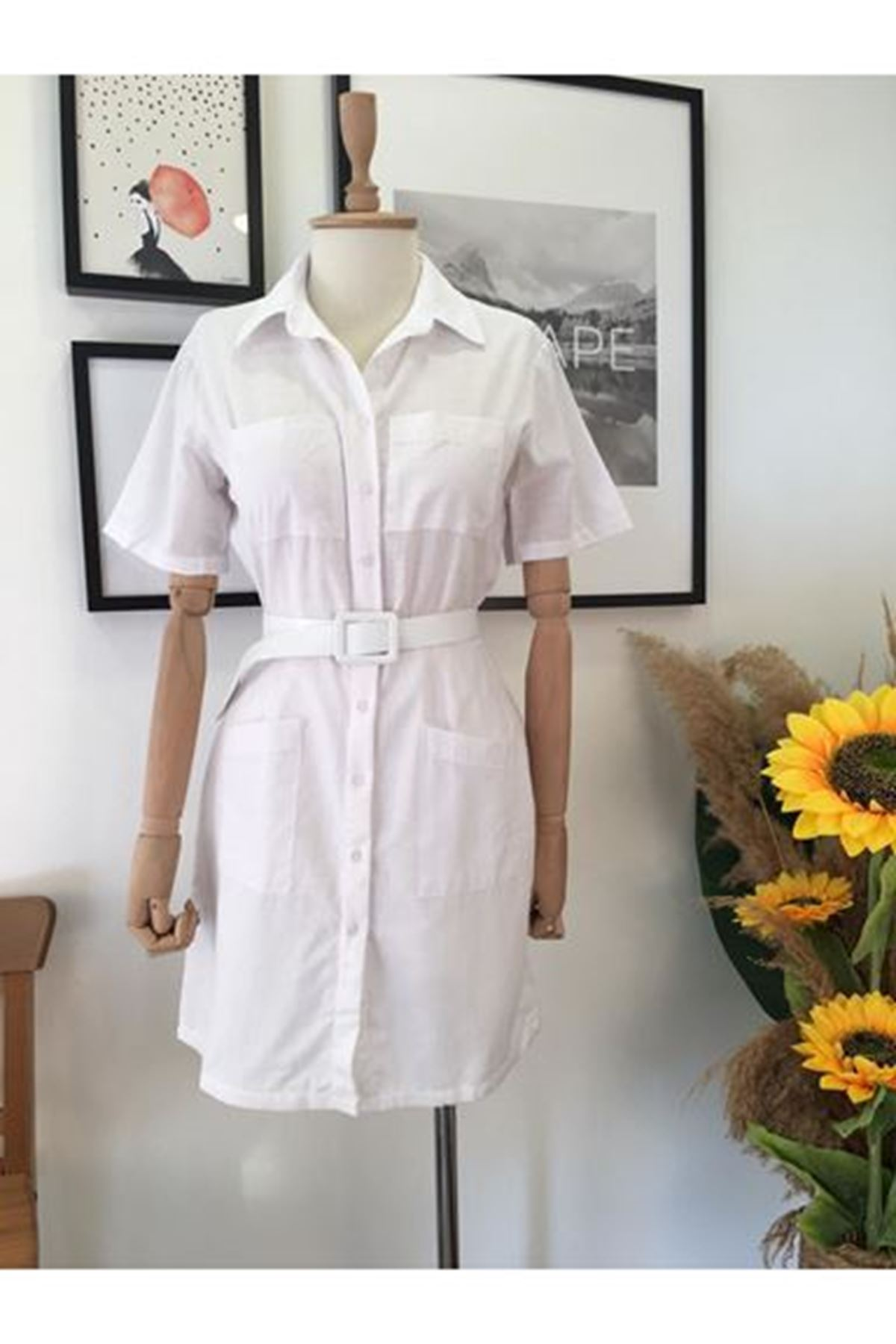 Cepli Mini Keten Elbise - Beyaz