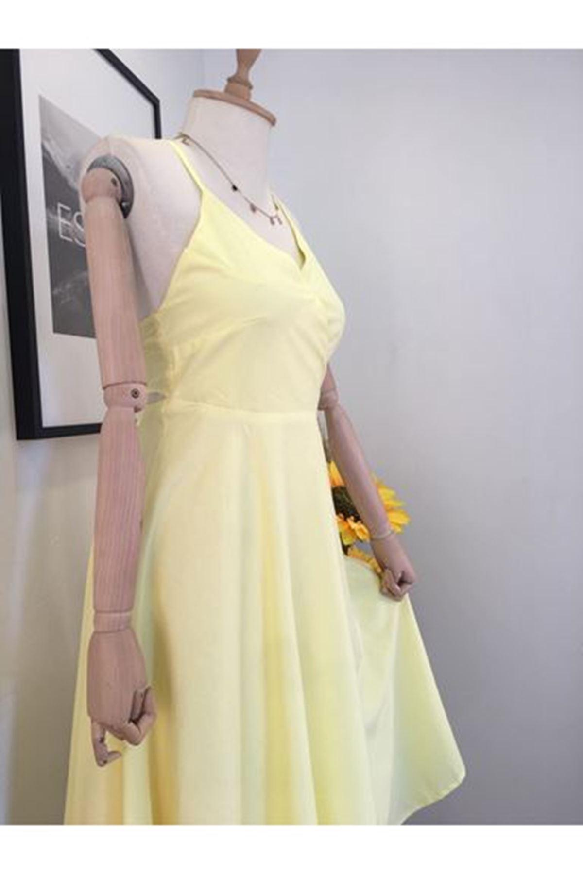 Sırtı Bağlamalı Elbise - Sarı