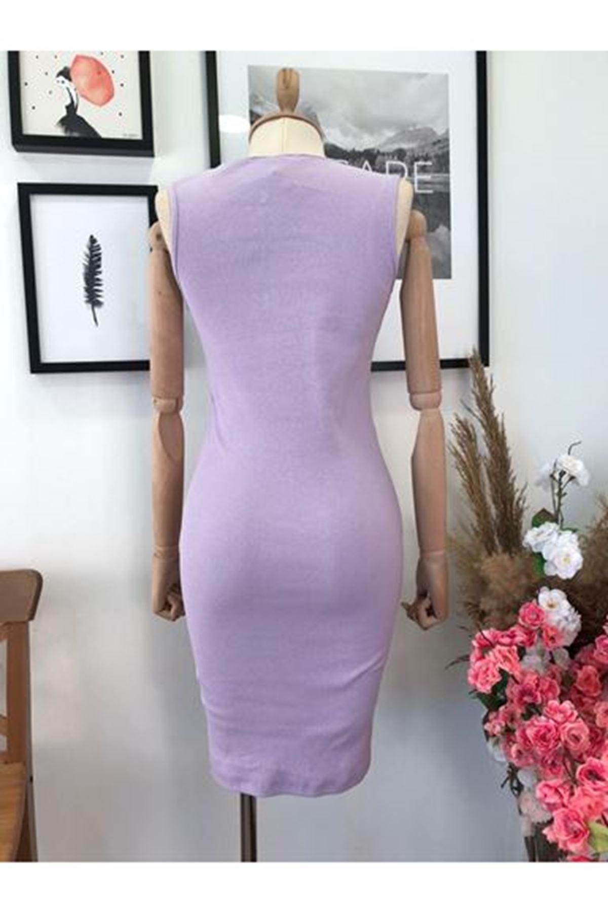 Fermuar Detay Nıke Elbise - Lila