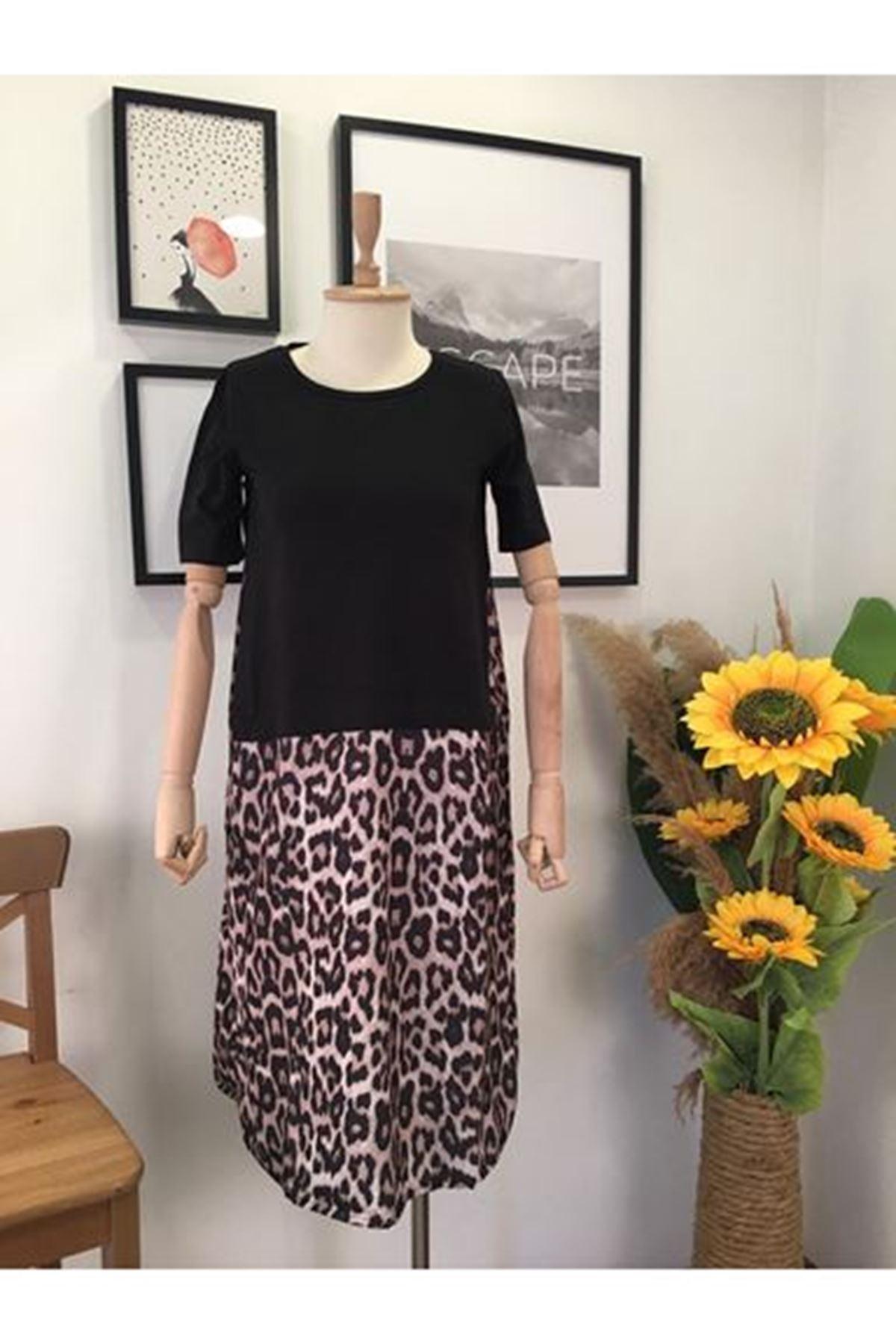 Leopar Garnili Elbise - Siyah