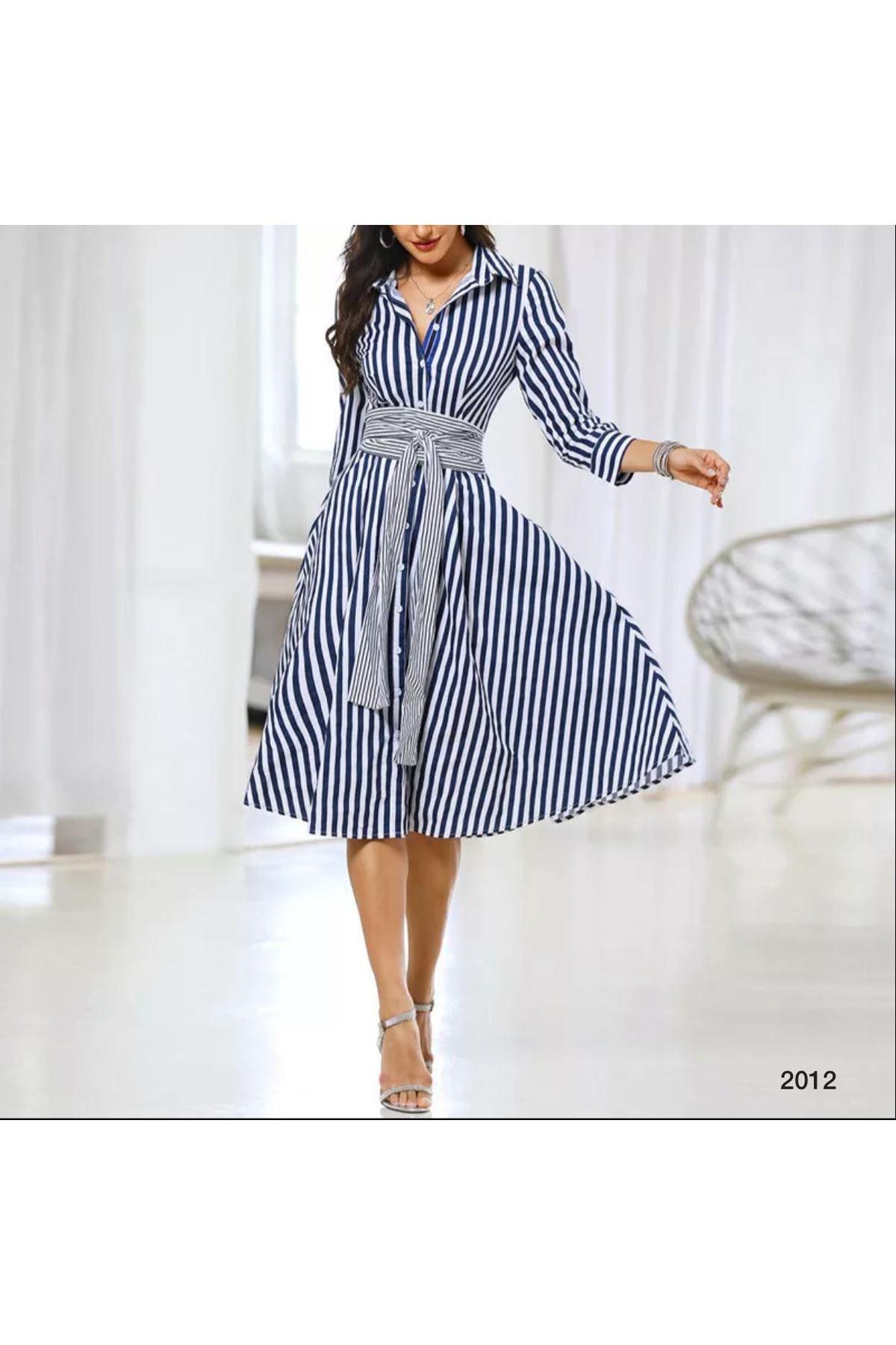 Kuşaklı Çizgi Model Gömlek Elbise - Mavi