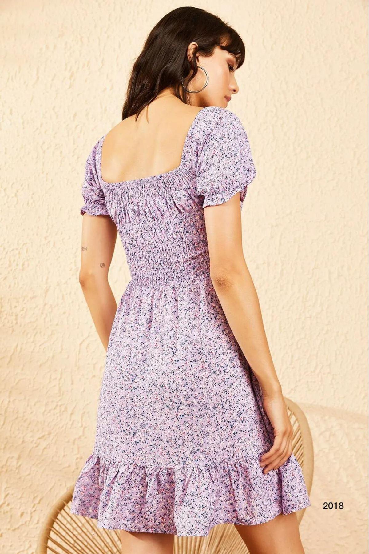 Çıtır Desen Mini Elbise - Lila