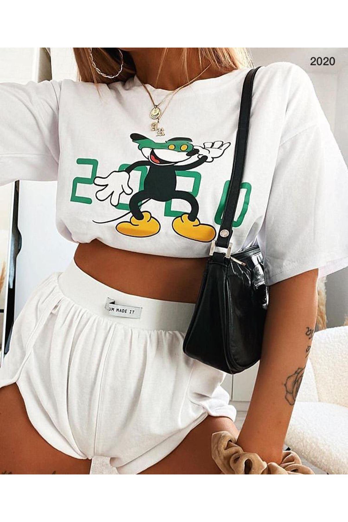Crop Mickey Baskı Tshirt - Beyaz