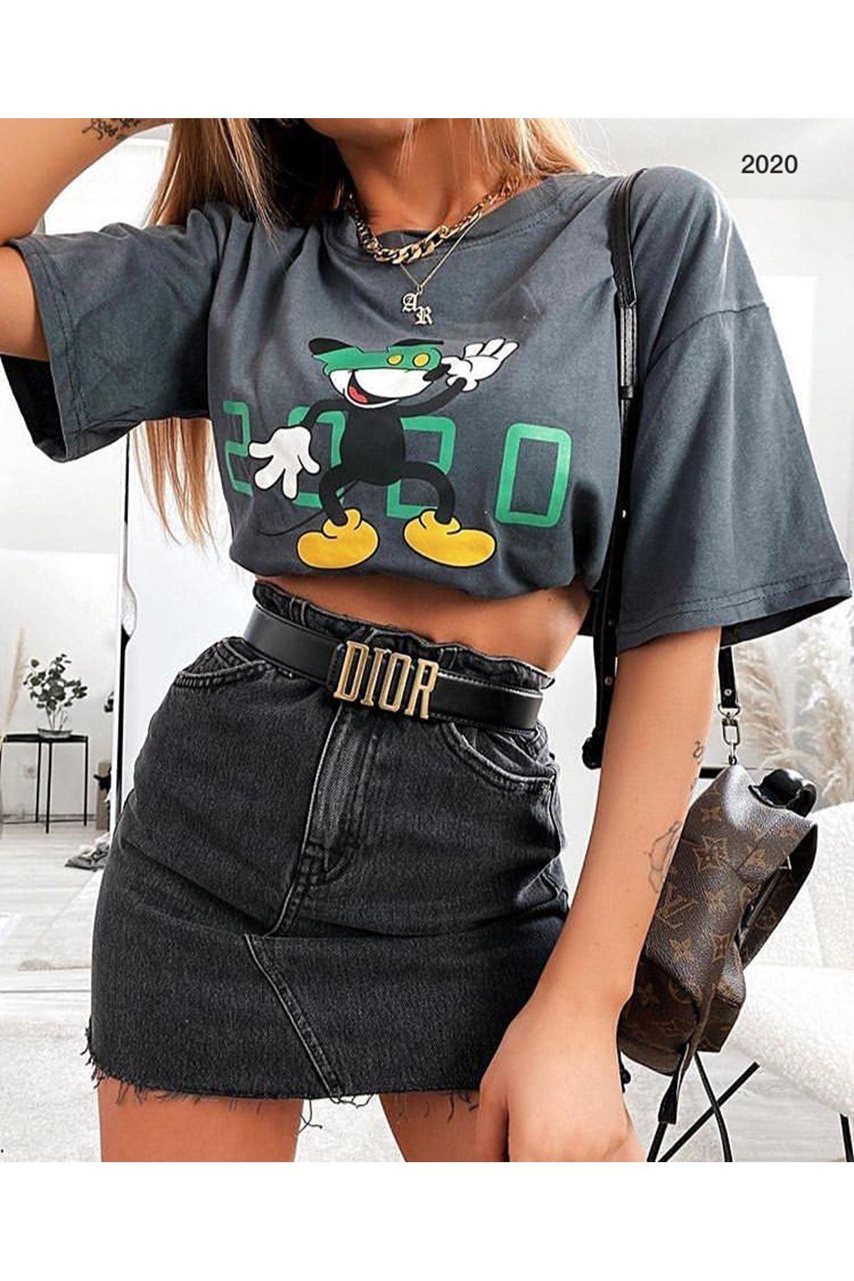 Crop Mickey Baskı Tshirt - GRİ