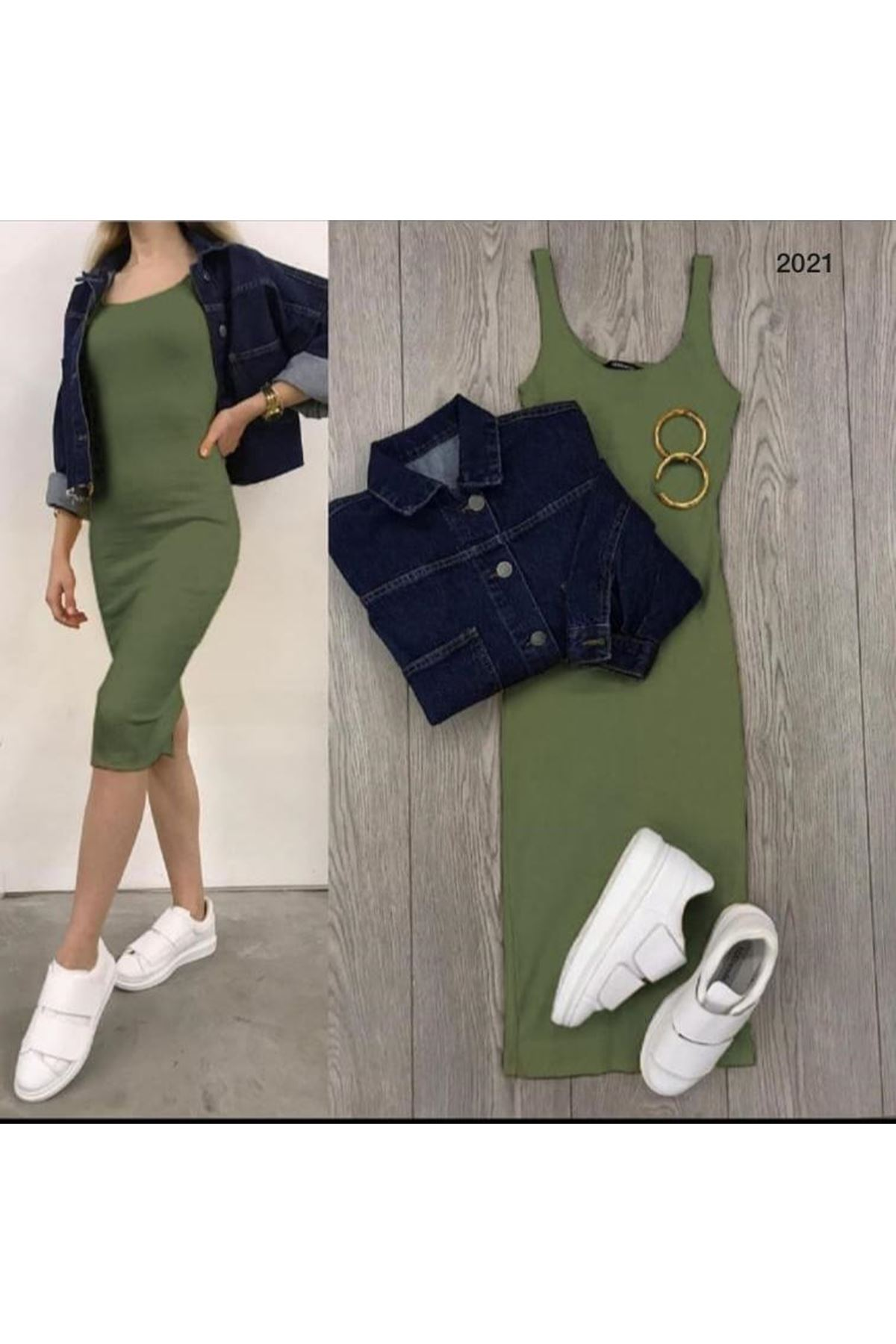 Kaşkorse 4 Renk Kalem Elbise - Yeşil
