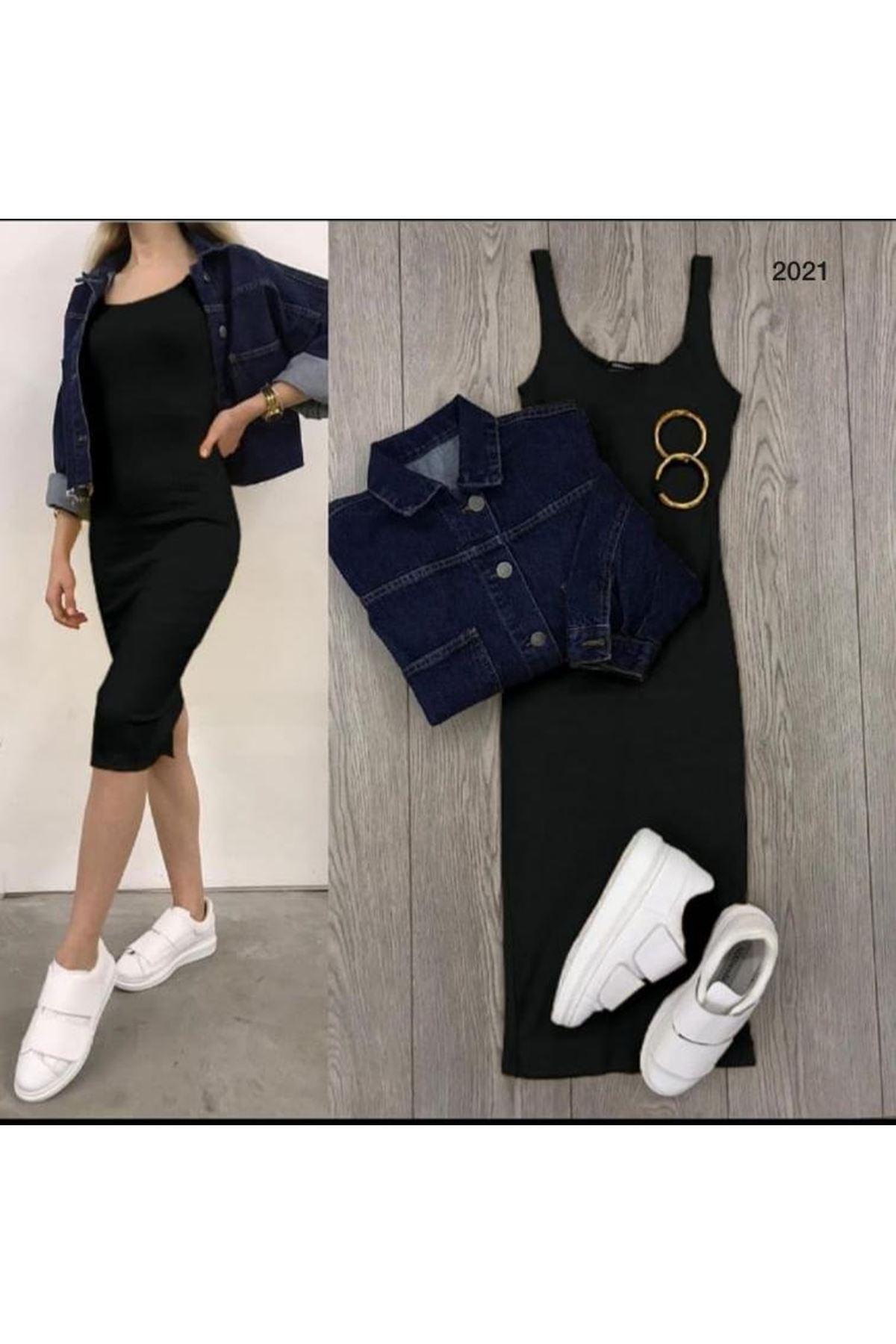 Kaşkorse 4 Renk Kalem Elbise - Siyah
