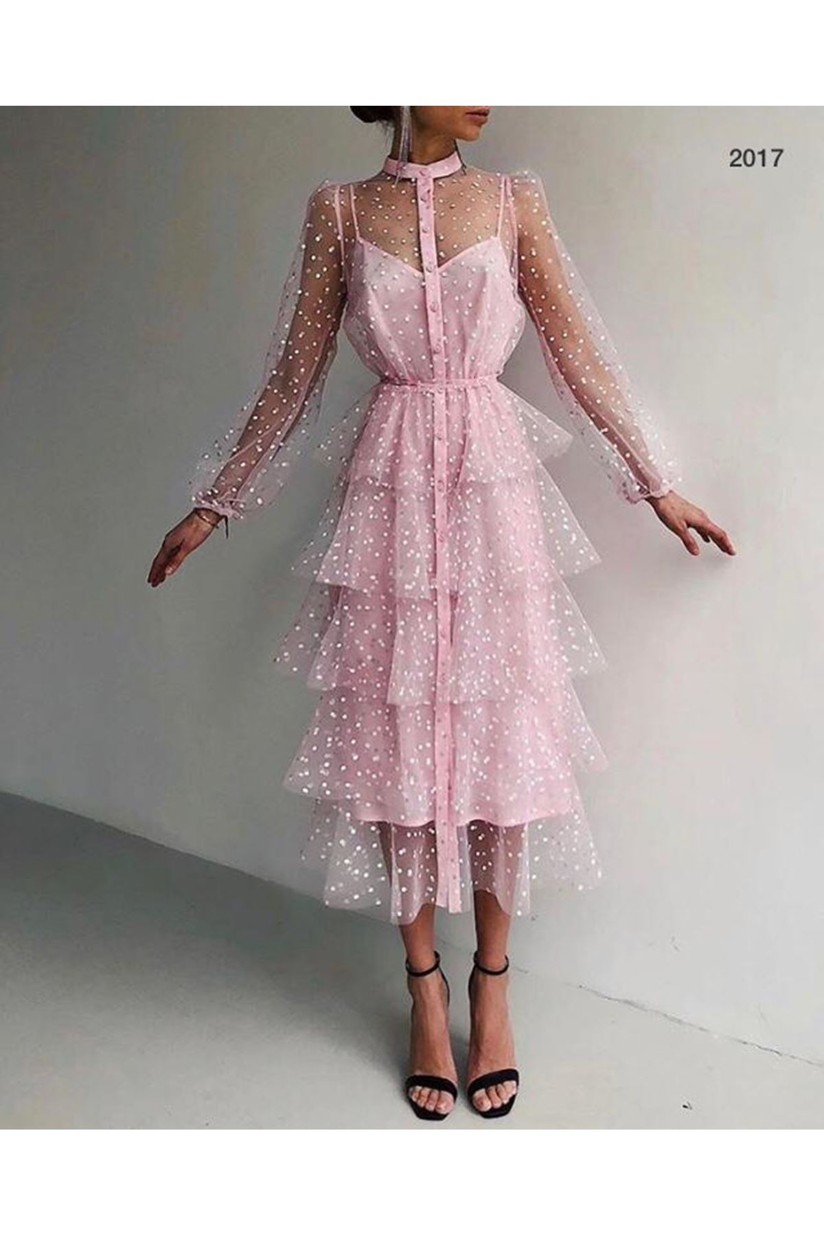 Tül Puanlı Kat Kat Elbise - Pudra