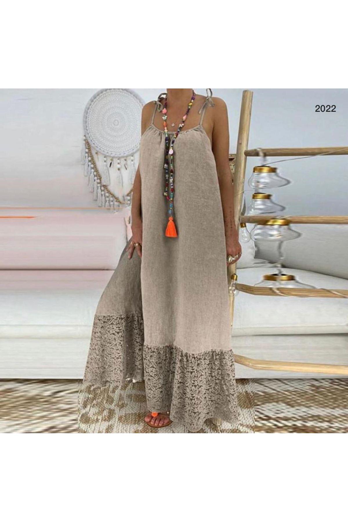 Yıkamalı Keten Elbise - Bej