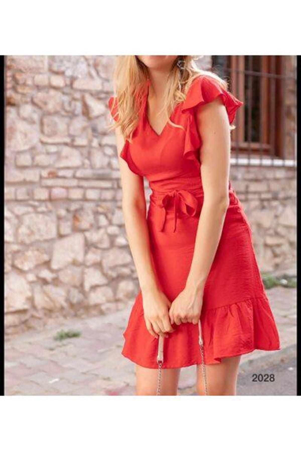 Fırfır Detay Efsane Elbise - Nar Çiçeği