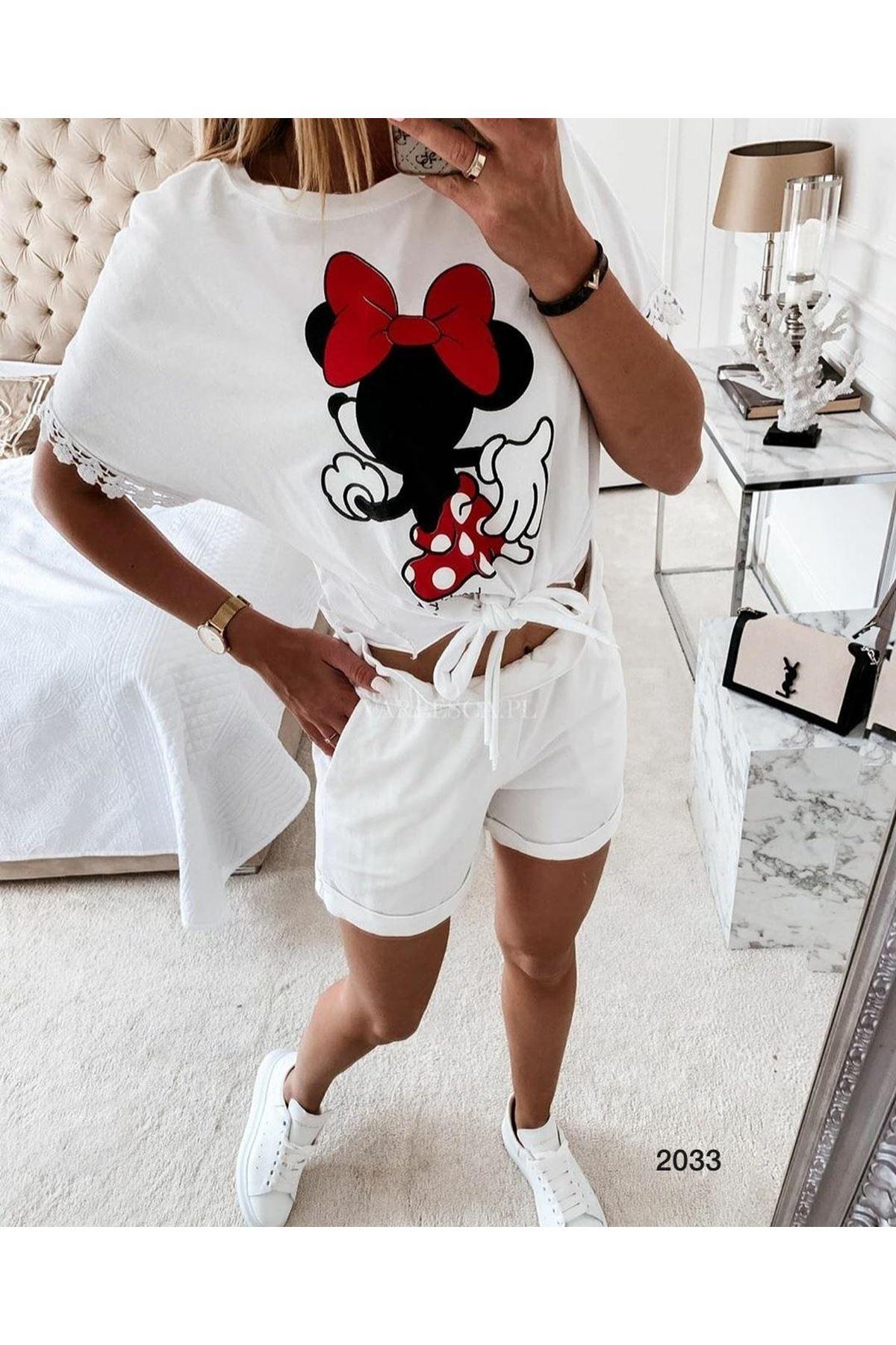 Mickey Baskı İkili Takım - Beyaz