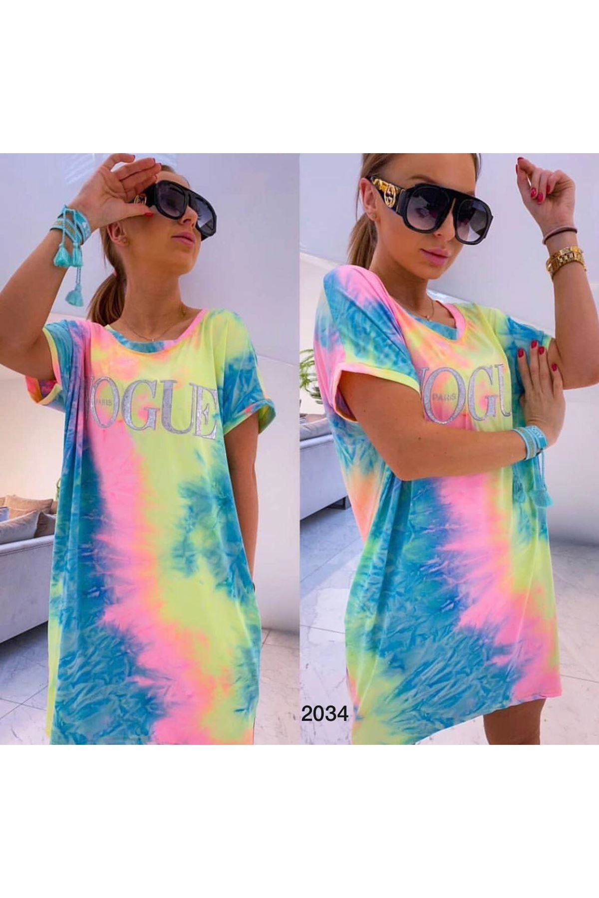 Vogue Batik Tunik Elbise - Multi