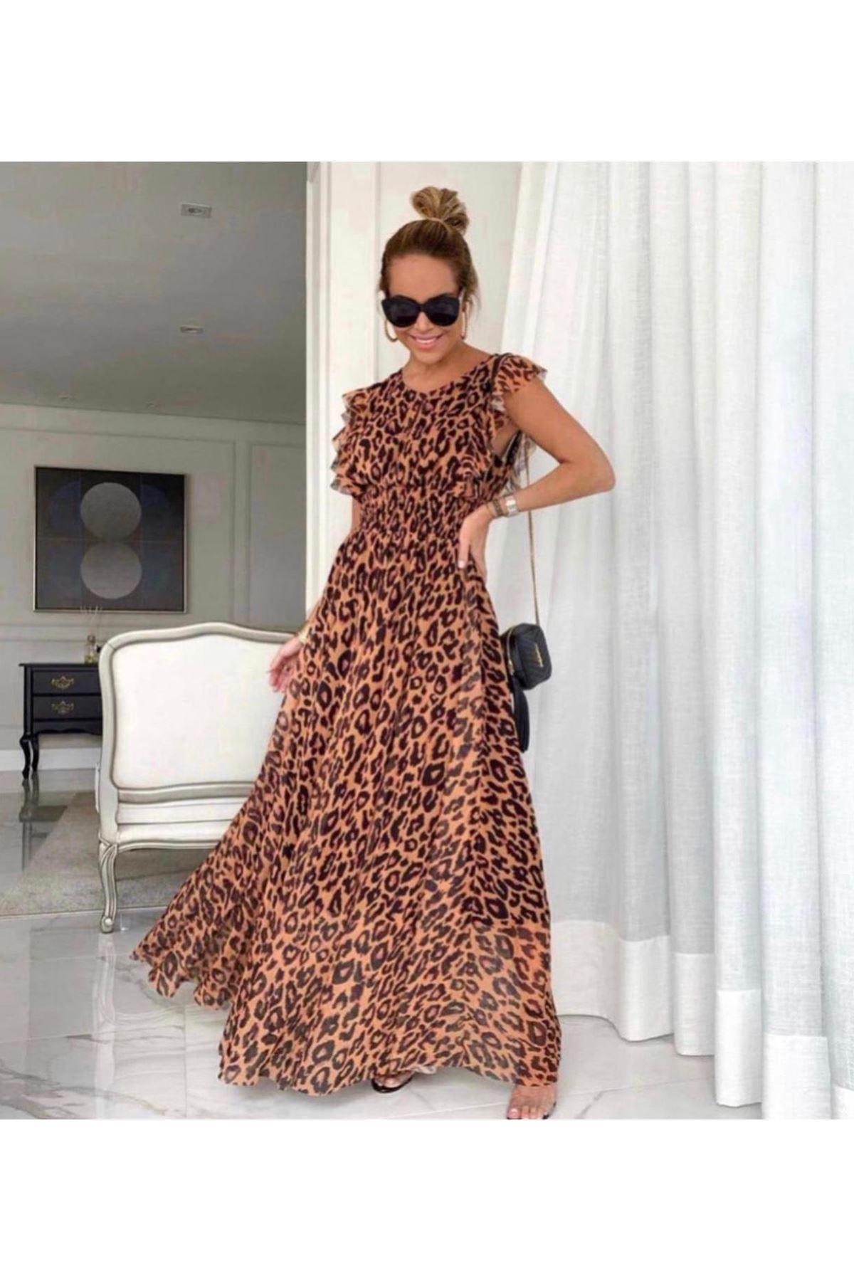 Leopar Desen Astarlı Elbise - Multı